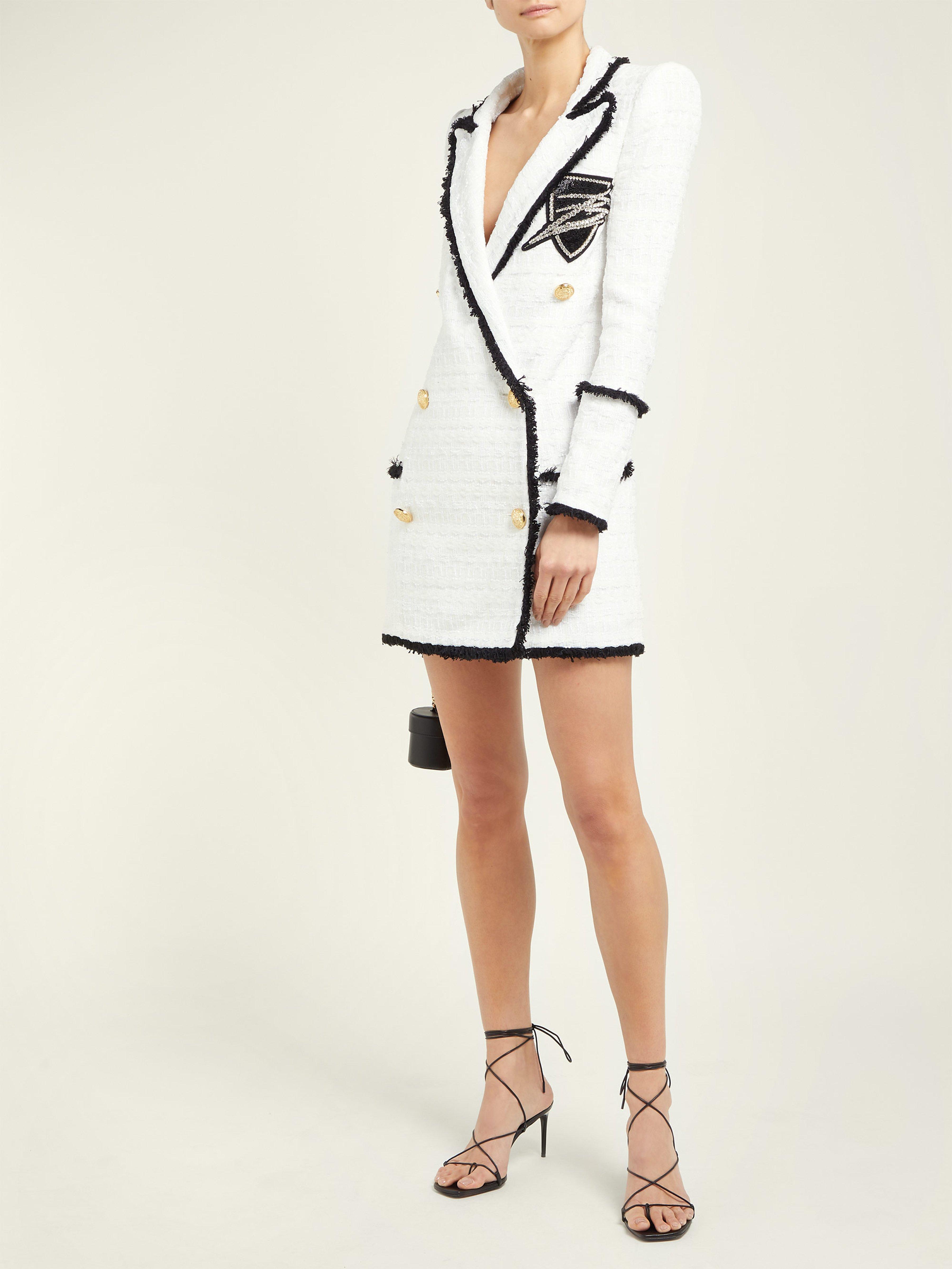 1d18ad0a Balmain - White Double Breasted Tweed Blazer Dress - Lyst. View fullscreen