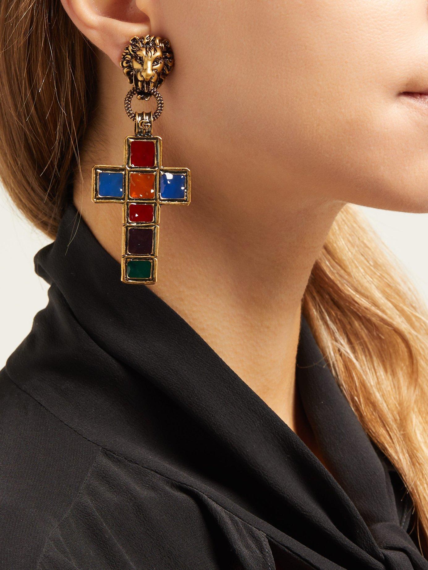 bceeba989c9 Gucci - Multicolor Enamelled Cross Clip Earrings - Lyst. View fullscreen