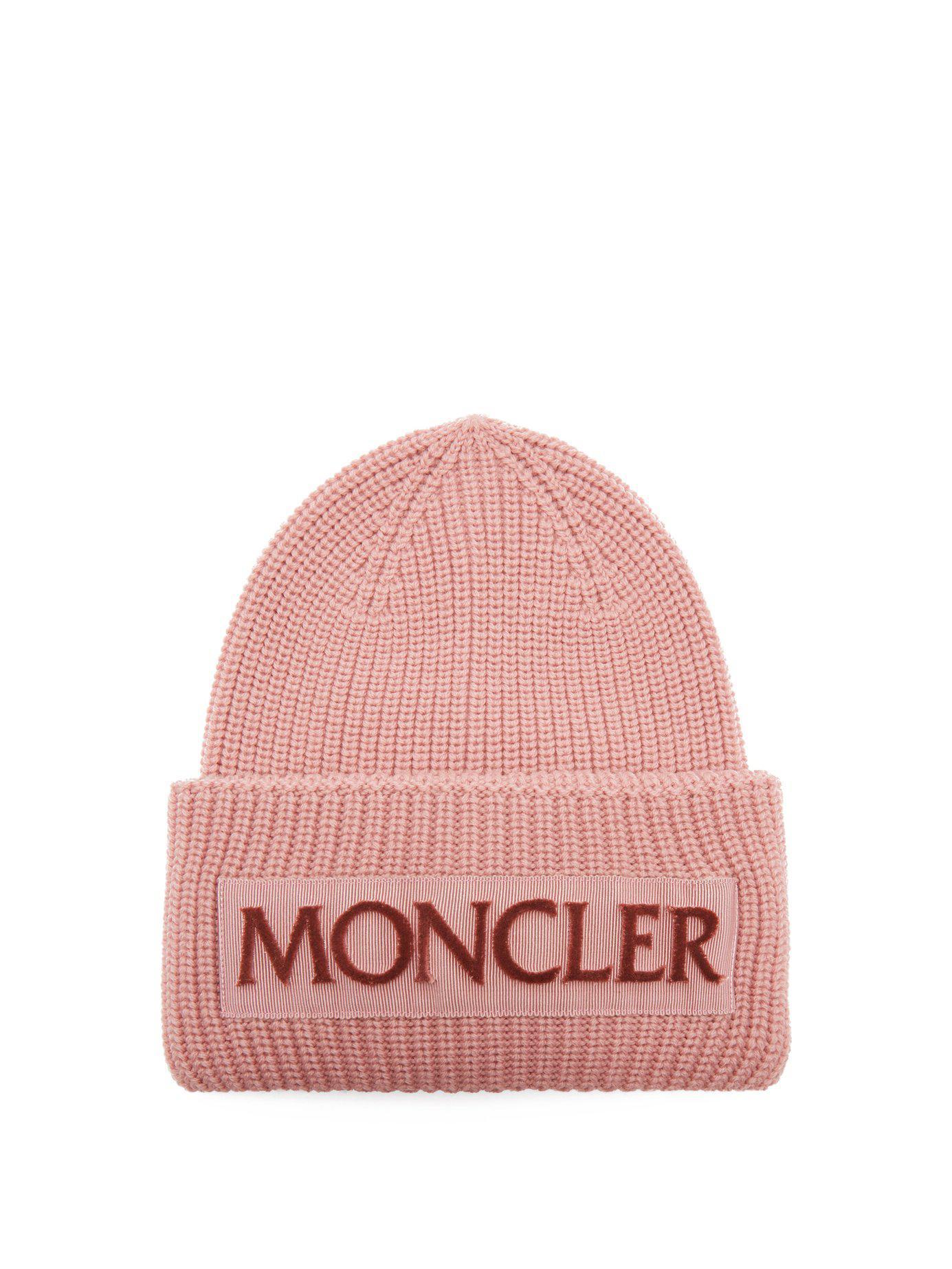 31480cd9db7 Moncler - Pink Velvet Logo Wool Beanie Hat - Lyst. View fullscreen