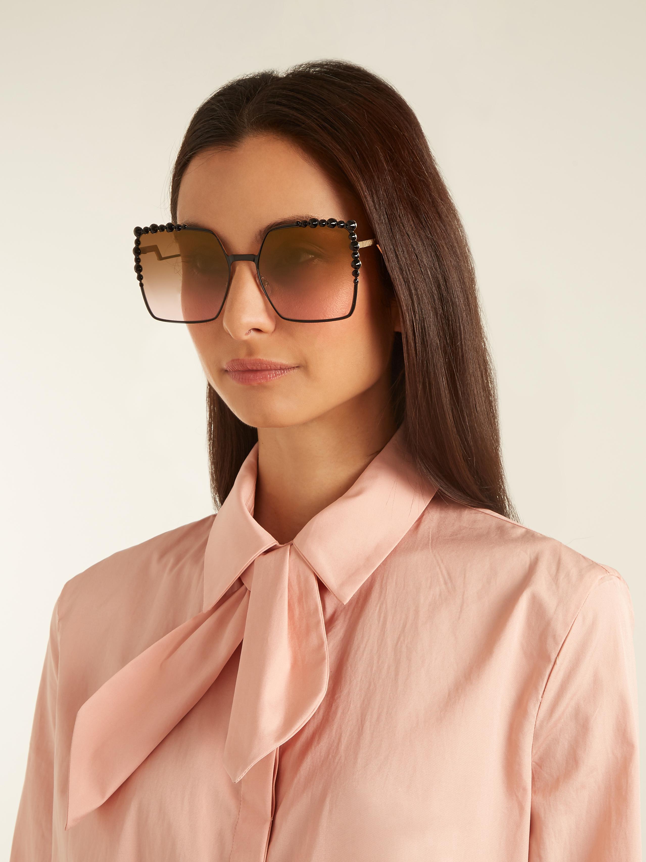 dce12c1bbfd4b Lyst Oversized Embellished Fendi Frame Sunglasses Square pWfgSRcp