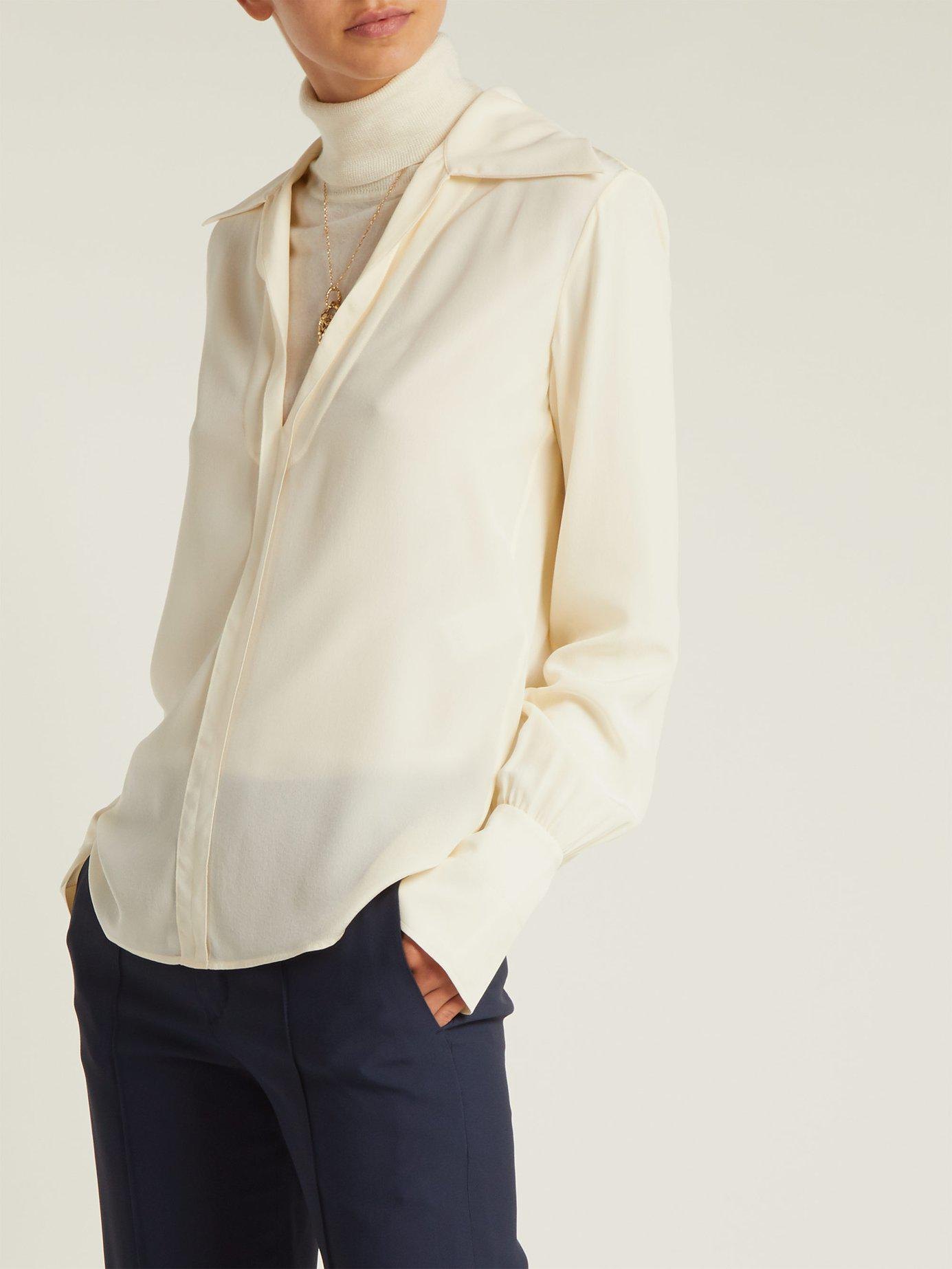 fb1655252b864 Lyst - Chloé Wide Collar Silk Blouse in White