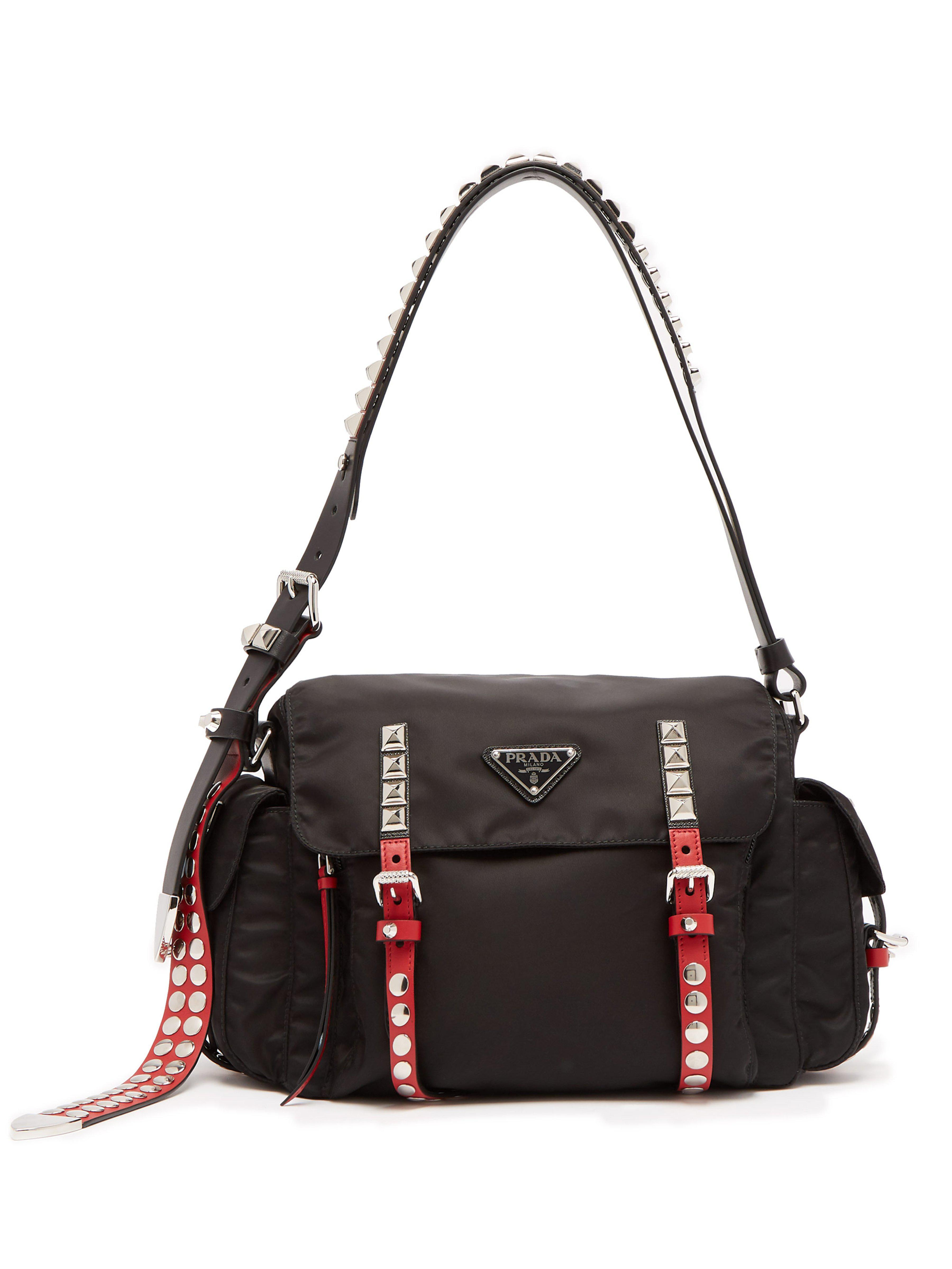 1c902ae93f2d Prada - Black Vela Leather Trimmed Cross Body Bag - Lyst. View fullscreen
