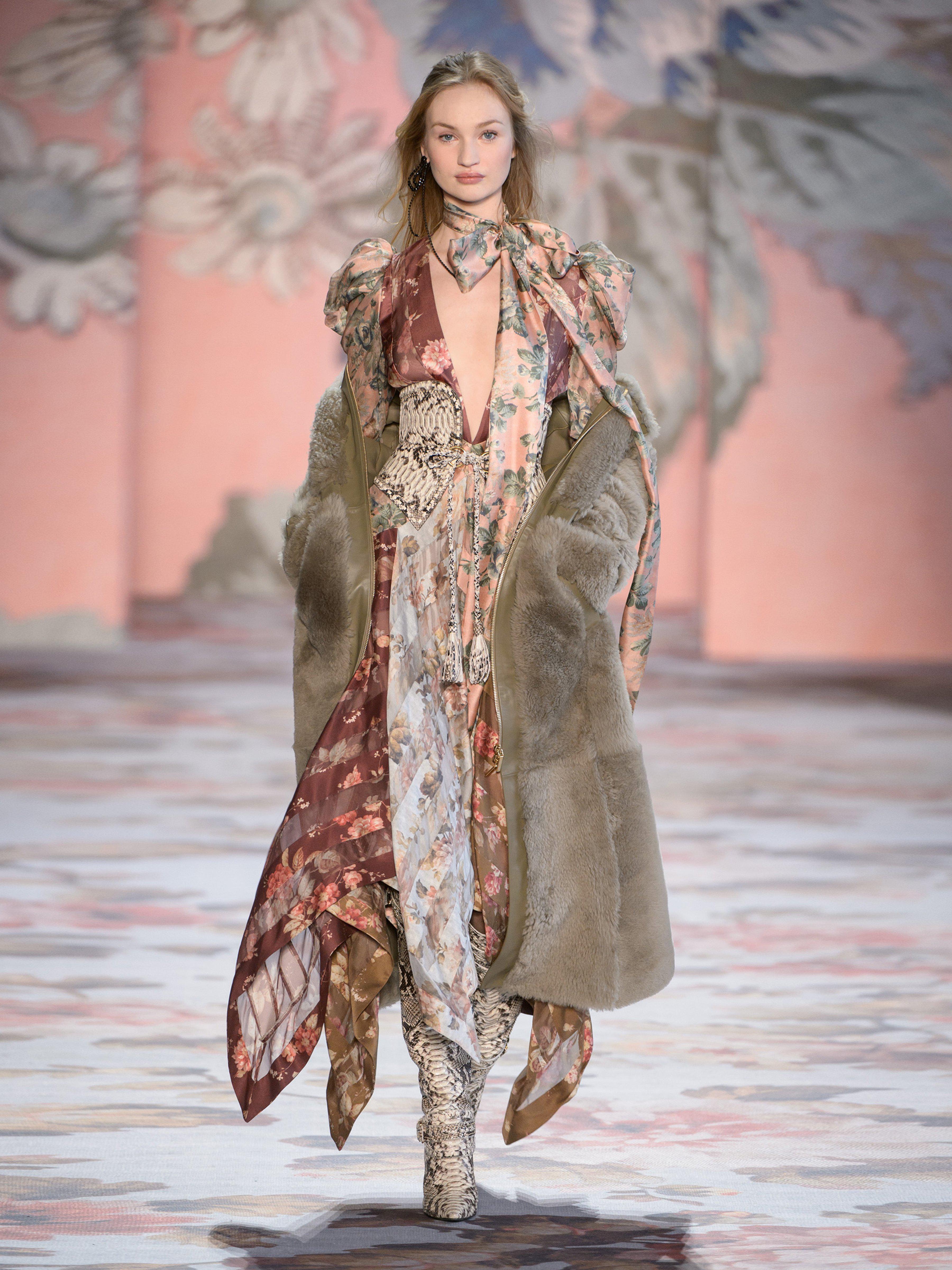 Zimmermann Unbridled Floral Print Contrast Panel Silk Gown