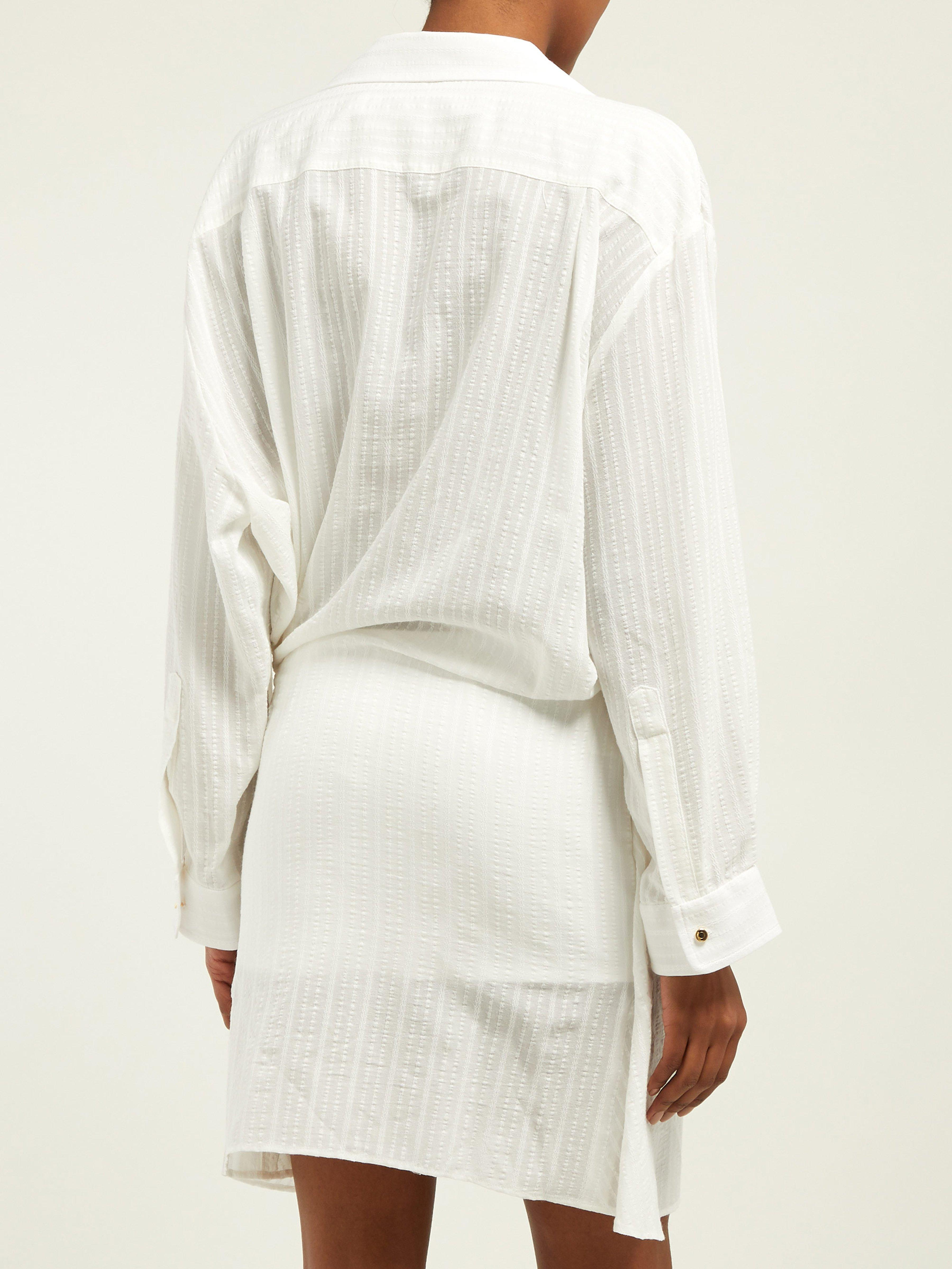 175f764a9c Jacquemus - White Alassio Knot Front Cotton Blend Dress - Lyst. View  fullscreen
