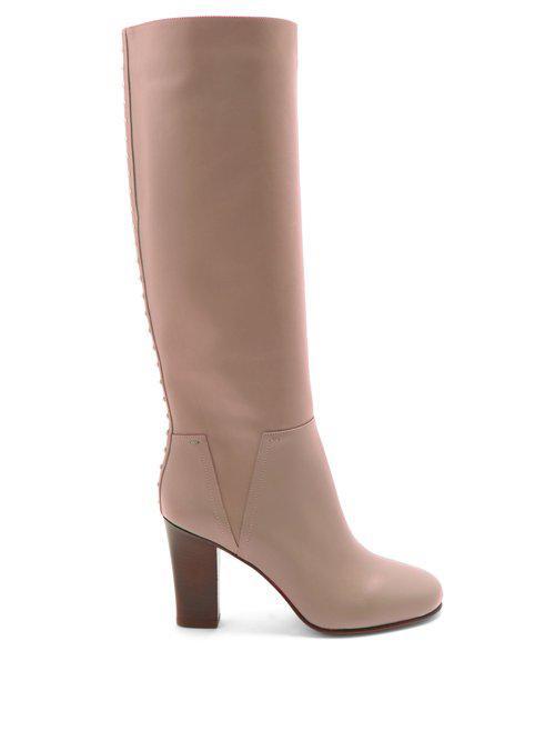Valentino. Women's Pink Lovestud Rockstud Leather Boots