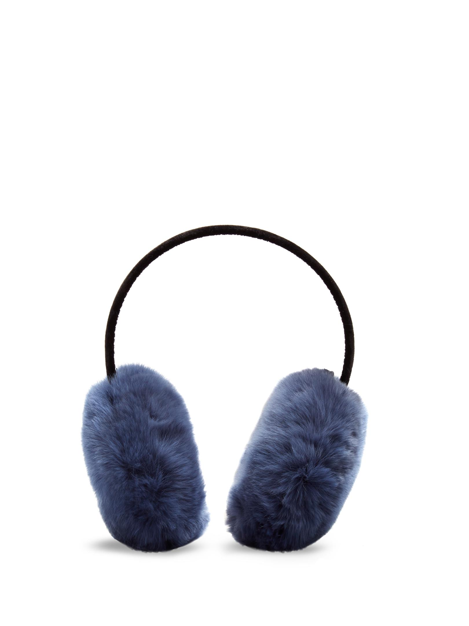 Double side fur muff. Blue Fox fur dyed inelectric  blue