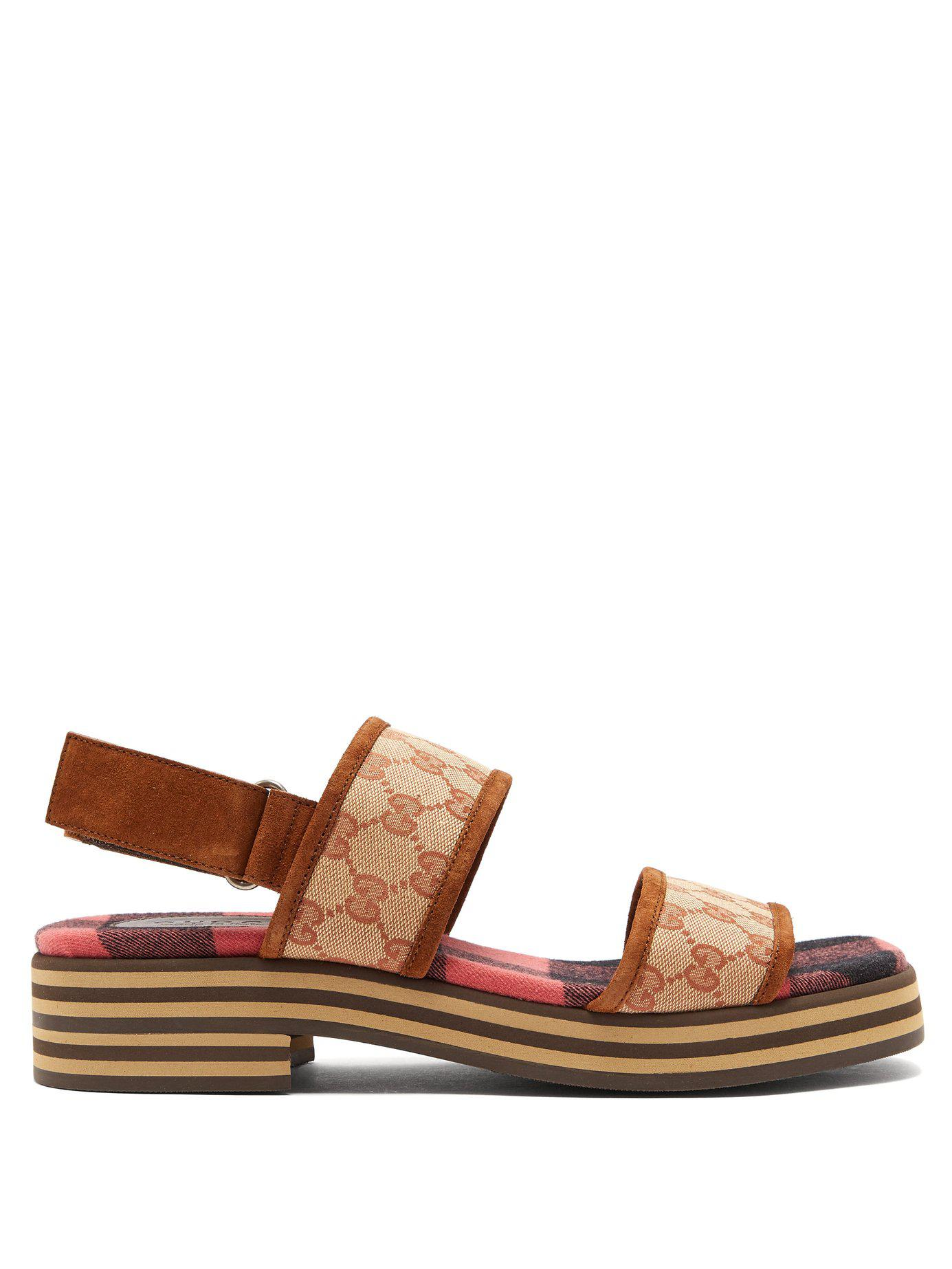 d64e48c1a6e1 Lyst - Gucci Gg Supreme Stacked Sole Suede Sandals in Brown for Men