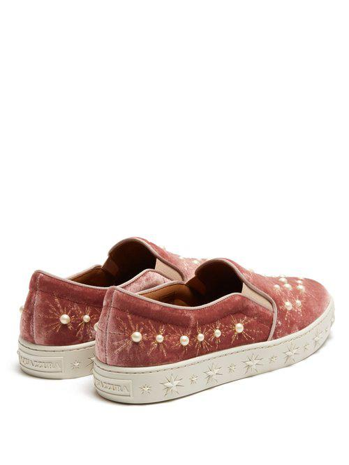 Aquazzura Cosmic Faux-pearl Embellished Velvet Trainers in Pink