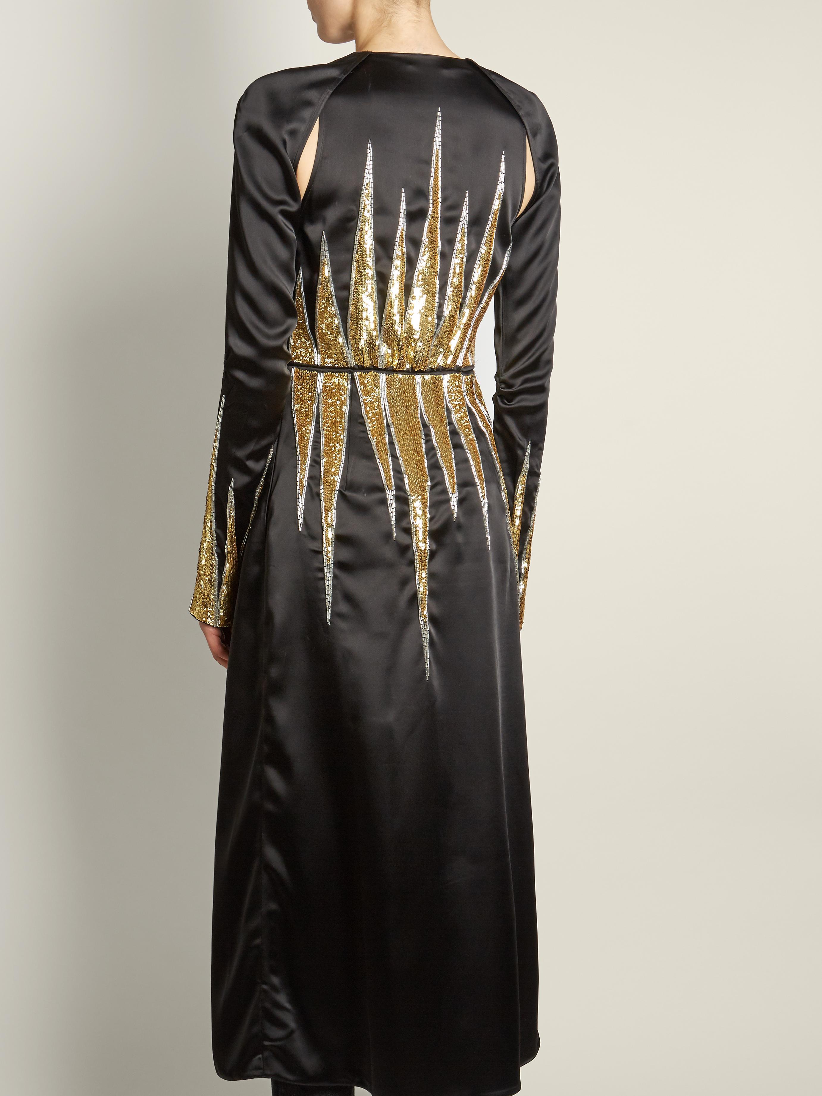 Lyst Attico Suzanne Sequin Embellished Satin Dress In Black