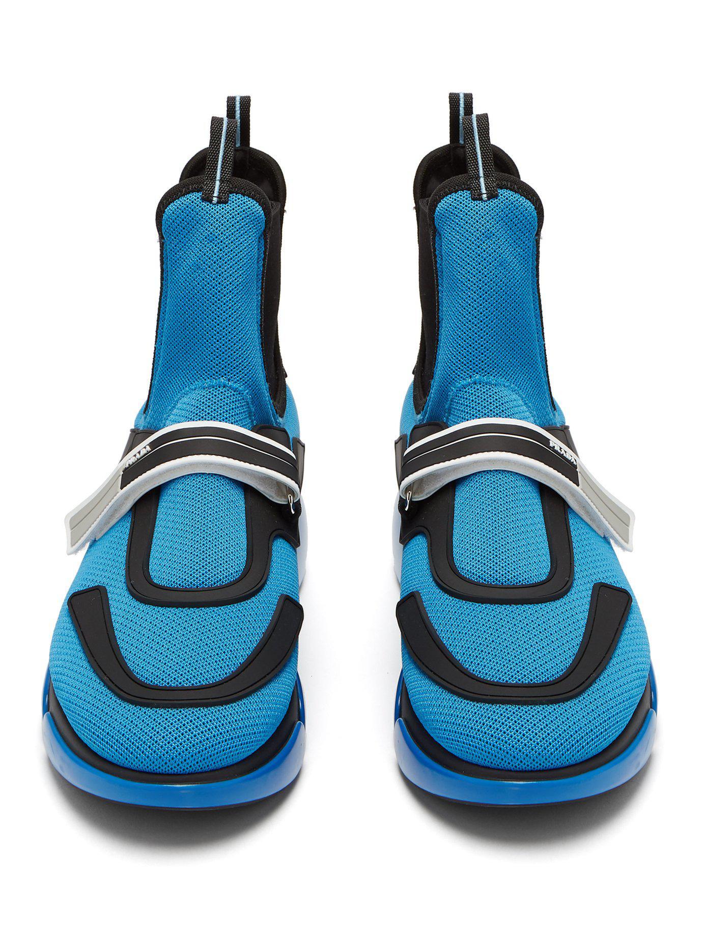 ea1bdf3e Prada Blue Cloudbust High-top Mesh Trainers