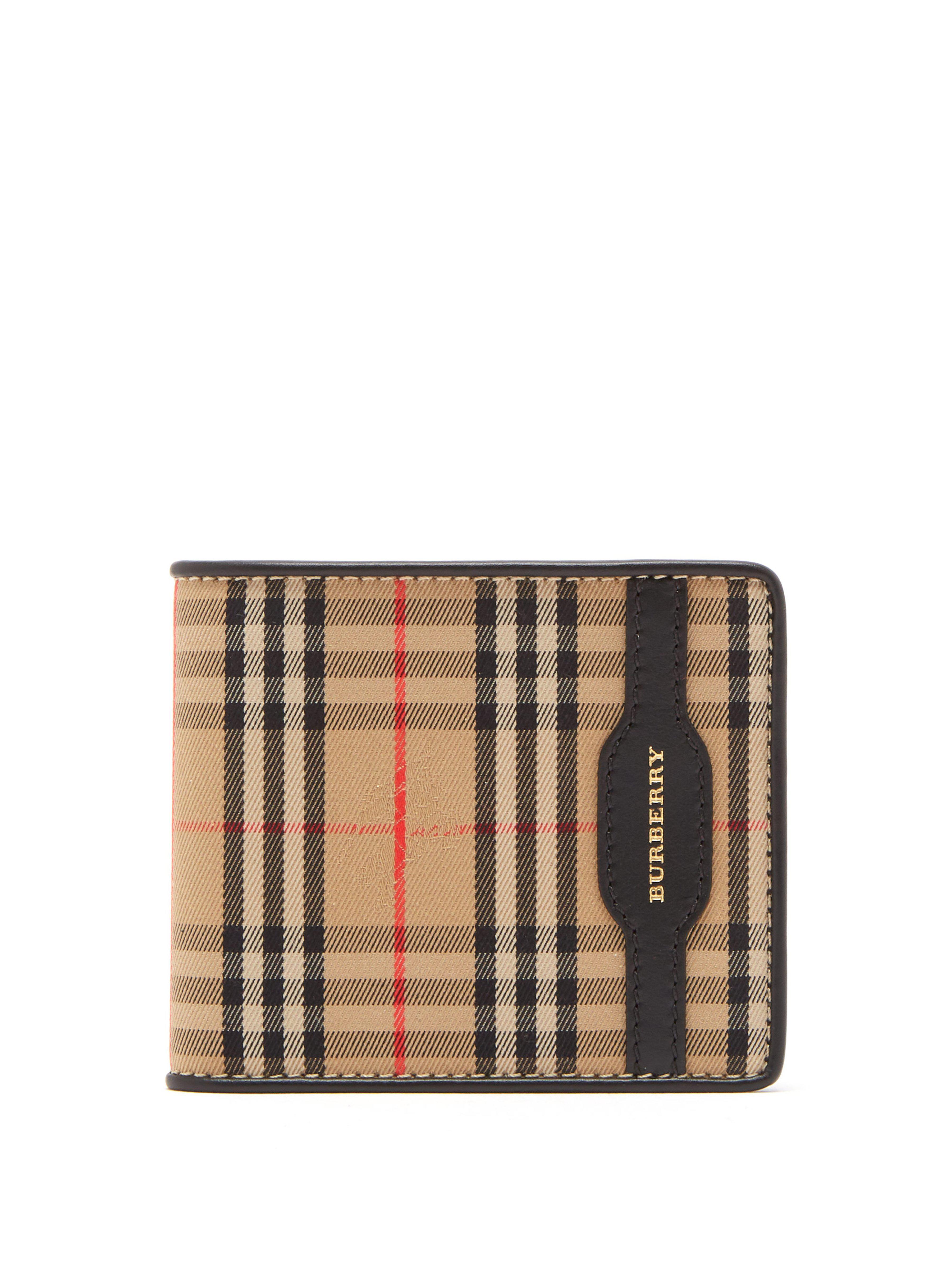 d260d4217506 Burberry Haymarket Check Bi Fold Wallet in Black for Men - Save ...