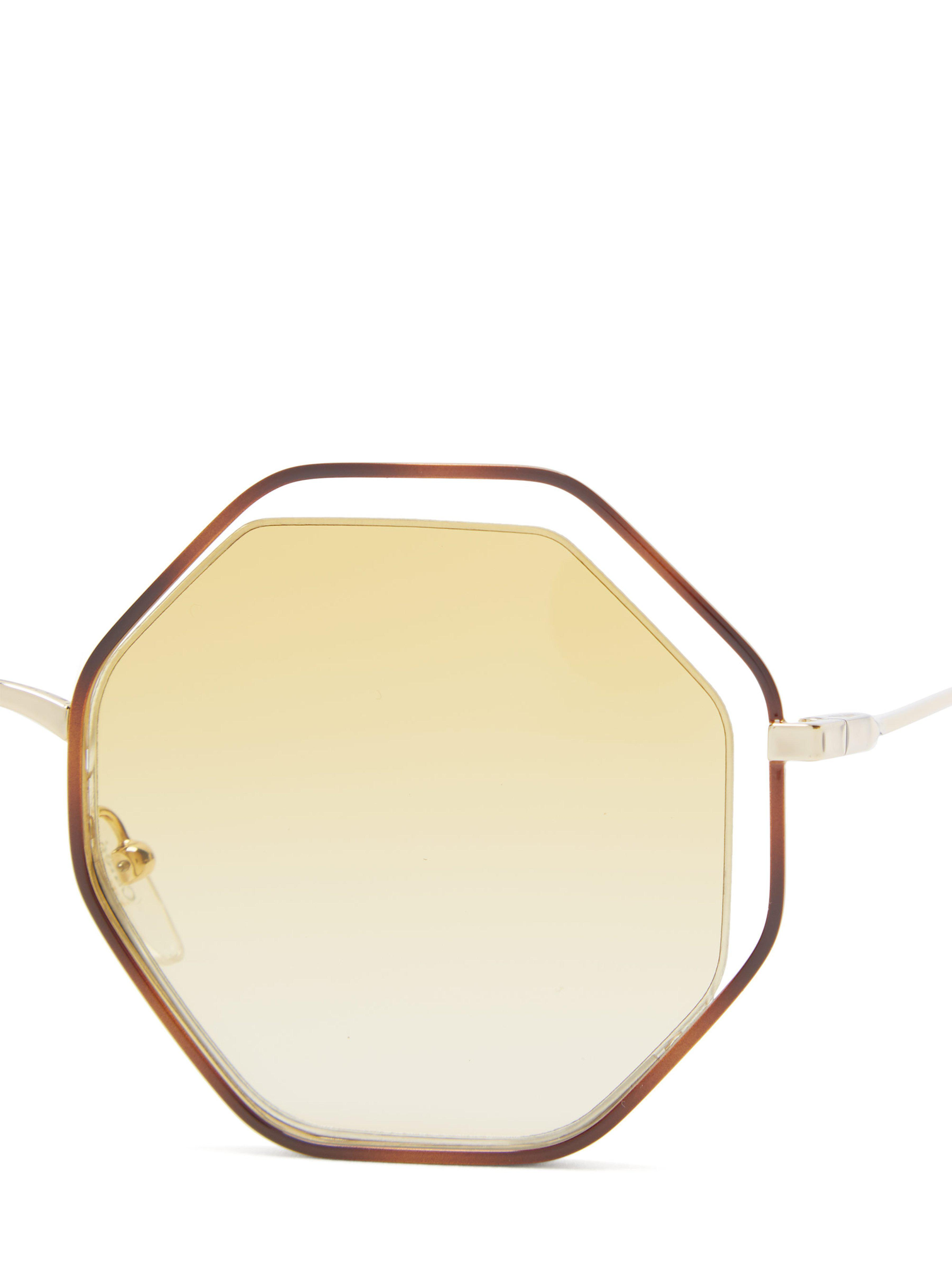 95960d3e263 Chloé - Yellow Poppy Octagonal Framed Sunglasses - Lyst. View fullscreen