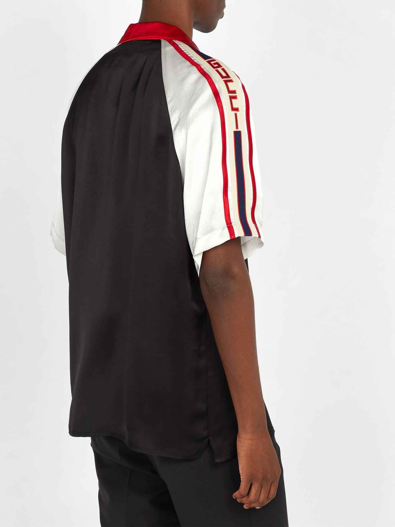 d1848f29dc2 Gucci - Black Camp-collar Webbing-trimmed Satin Shirt for Men - Lyst. View  fullscreen