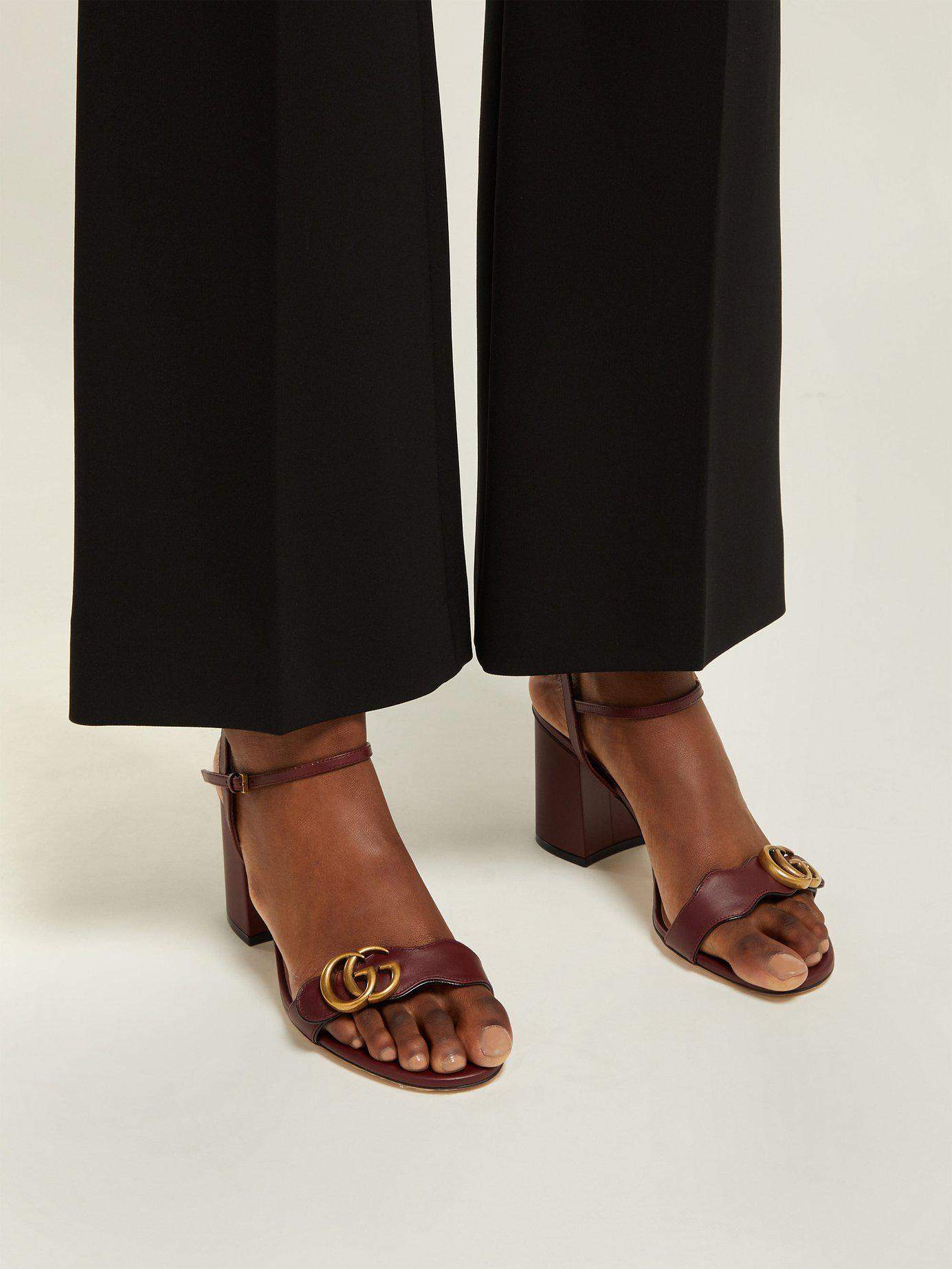 38608178bb1a ... Marmont Leather Sandals - Lyst. View fullscreen