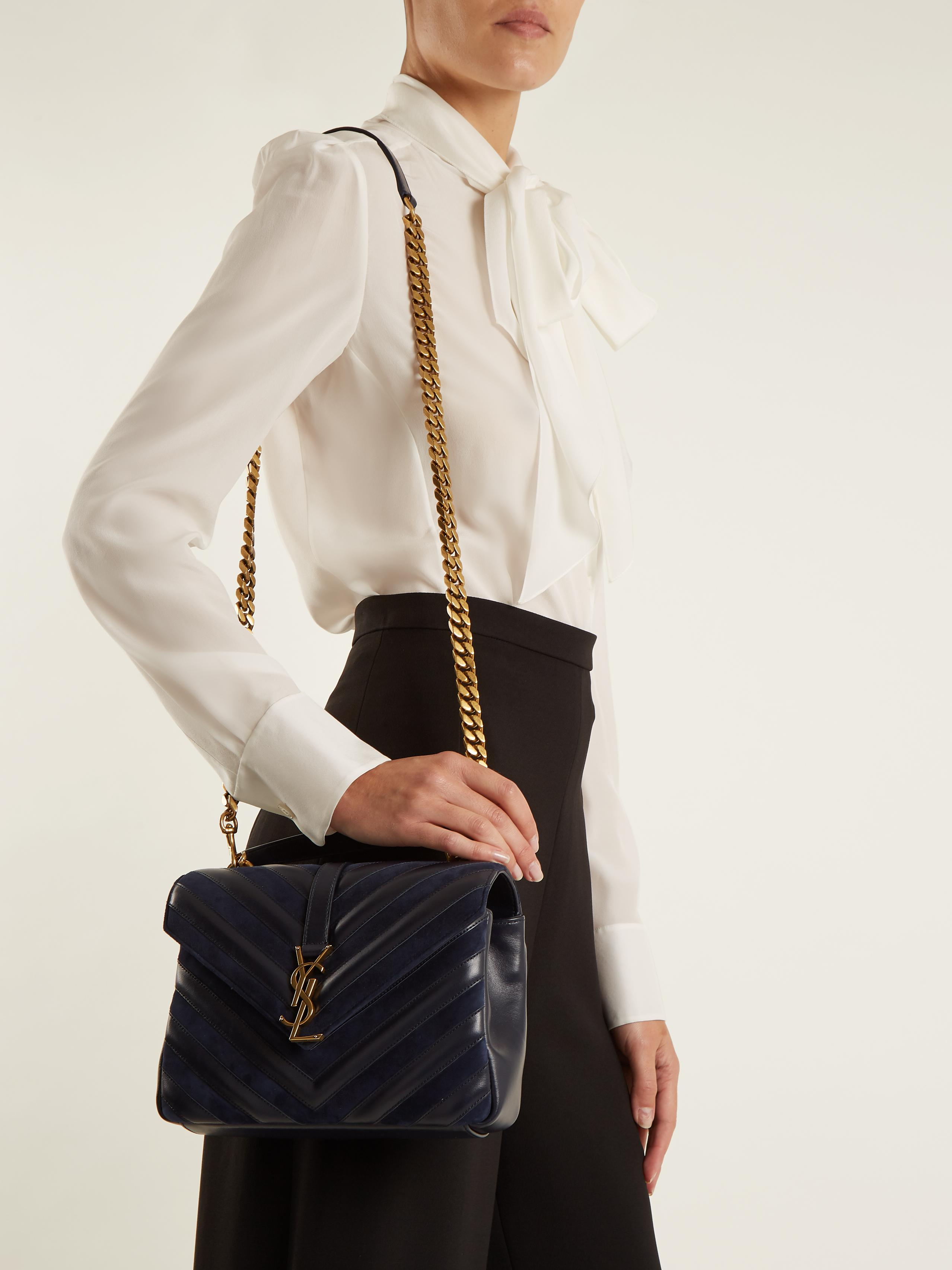 eb88b19bfabf Saint Laurent Collège Medium Leather And Suede Shoulder Bag in Blue ...