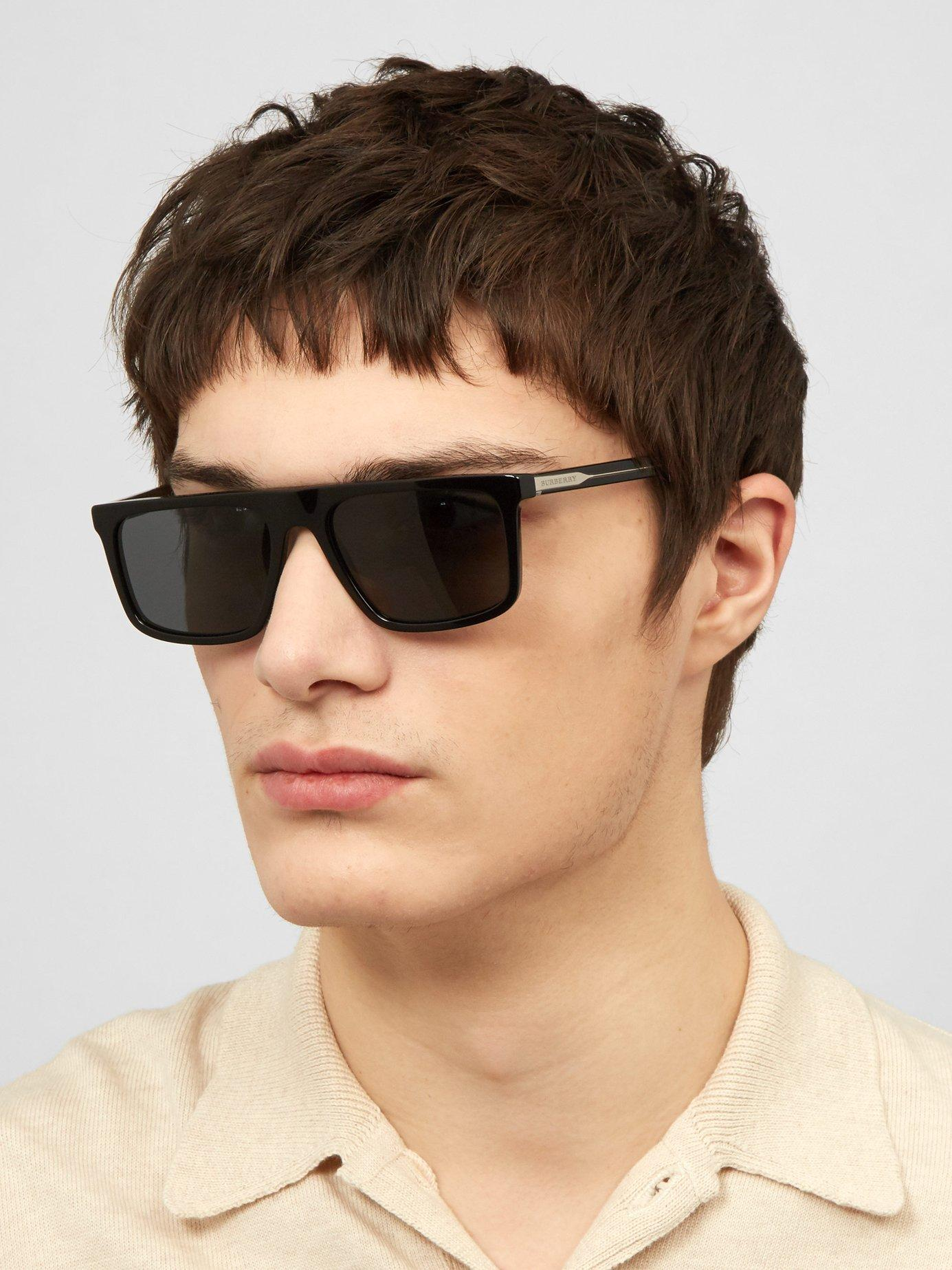 c0025821782f Lyst - Burberry Penford Square Frame Straight Brow Sunglasses in Black for  Men