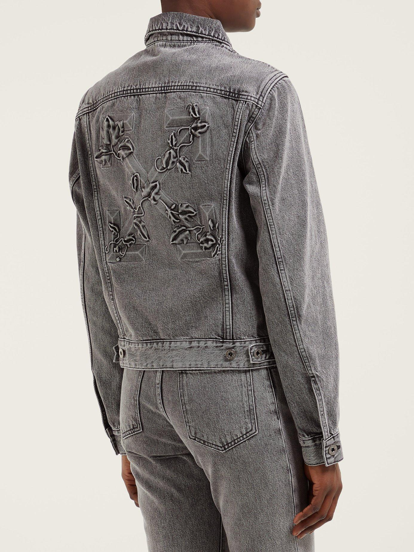 3878bf5d4502 Off-White c o Virgil Abloh - Gray Embossed Denim Jacket - Lyst. View  fullscreen