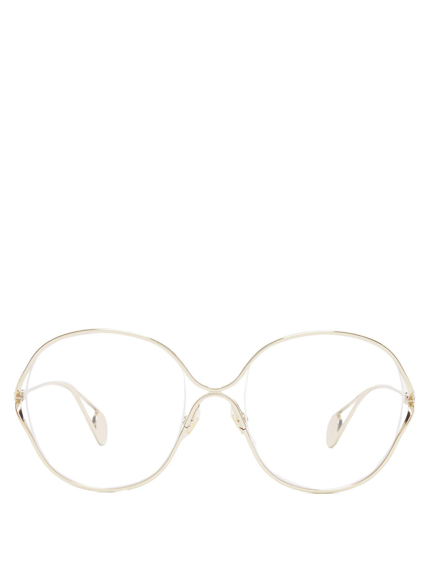 0348d2debf Gucci Round Frame Metal And Faux Pearl Glasses in Metallic - Lyst