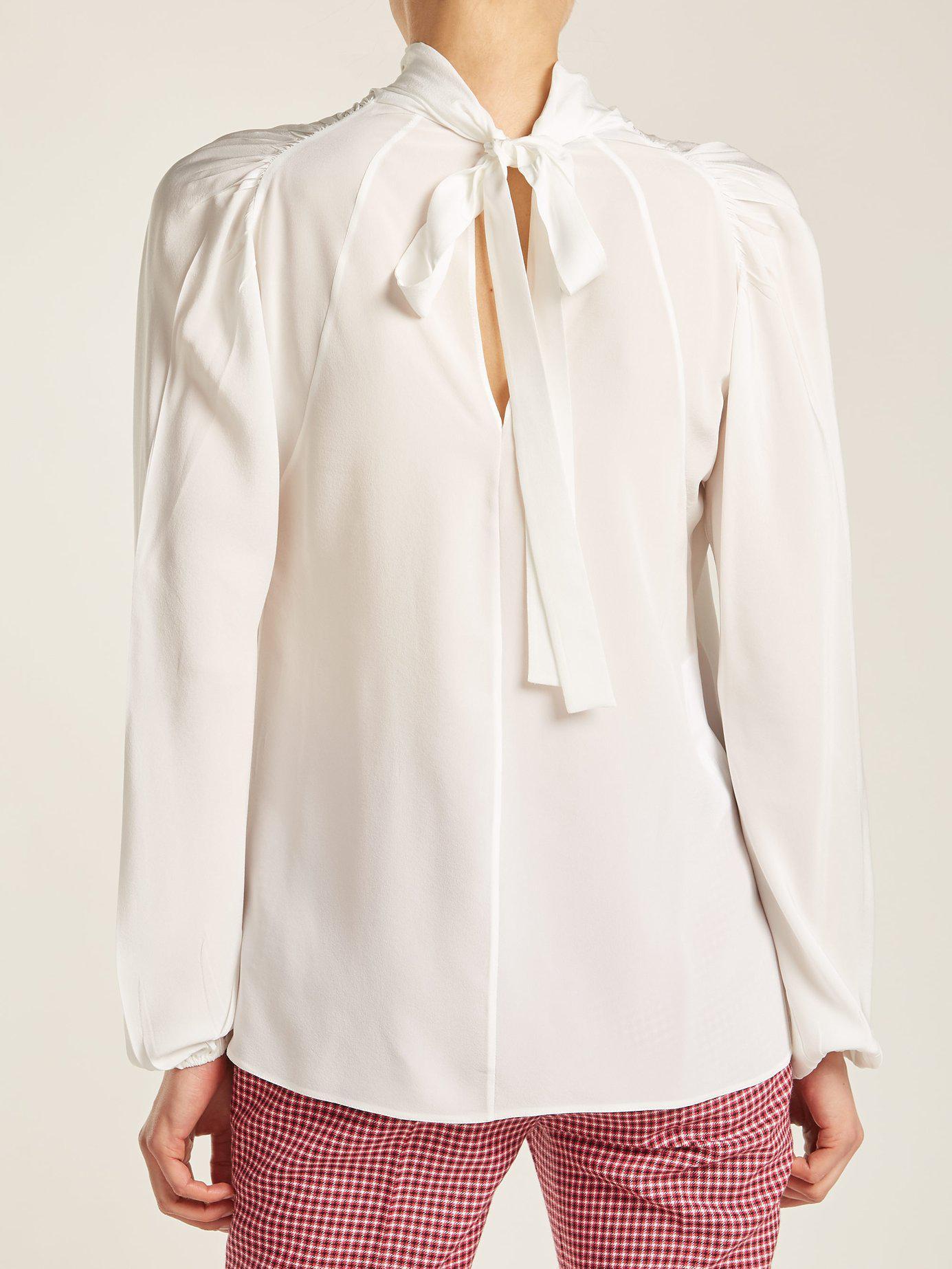 14b436cff3353 Prada - White Tie Neck Silk Blouse - Lyst. View fullscreen