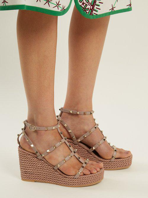 01854fdae10 Valentino Multicolor Torchon Rockstud Leather Wedge Sandals