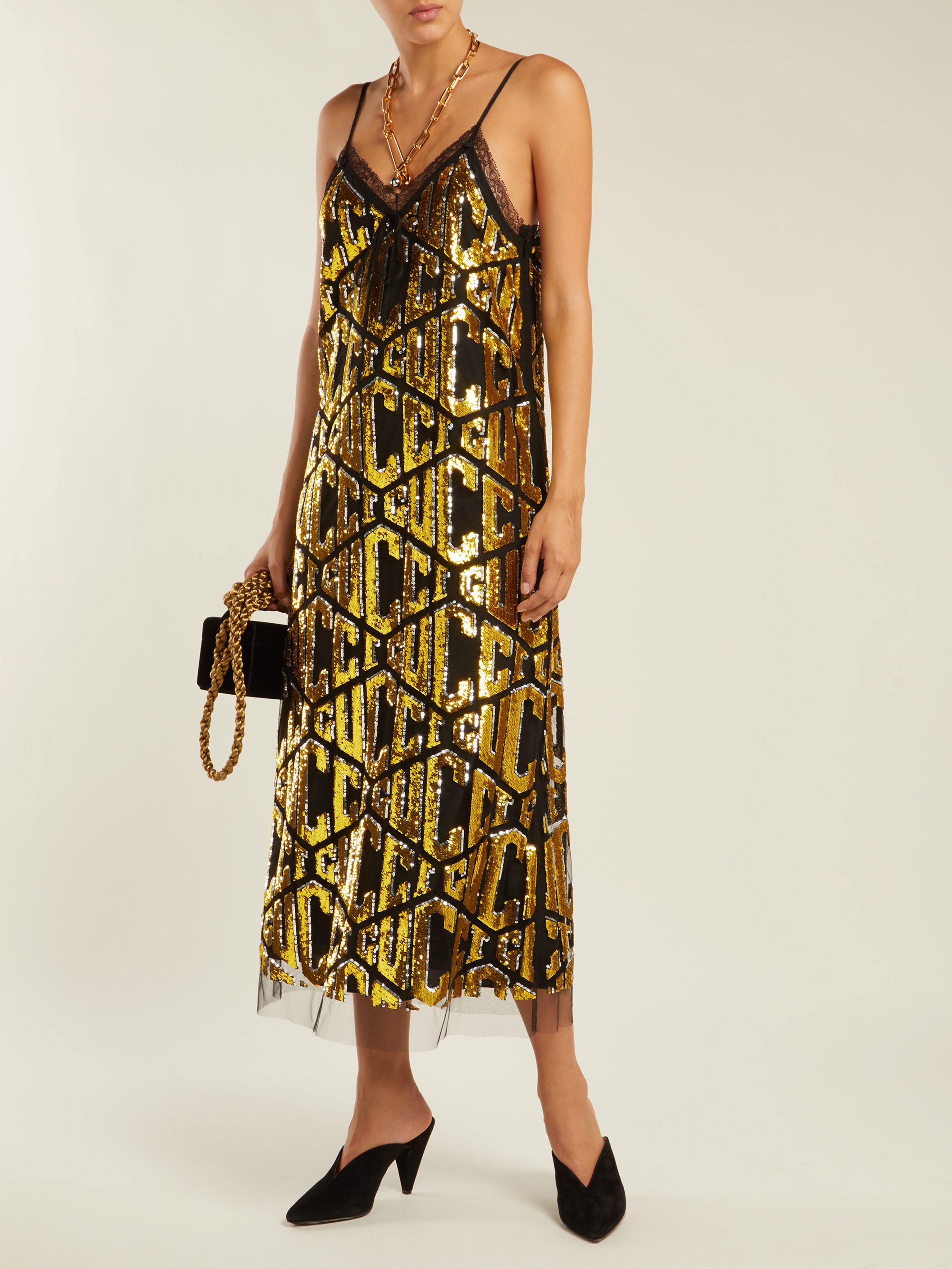 cff69e4b599b7 Gucci Sequin Embellished Logo Dress in Black - Lyst