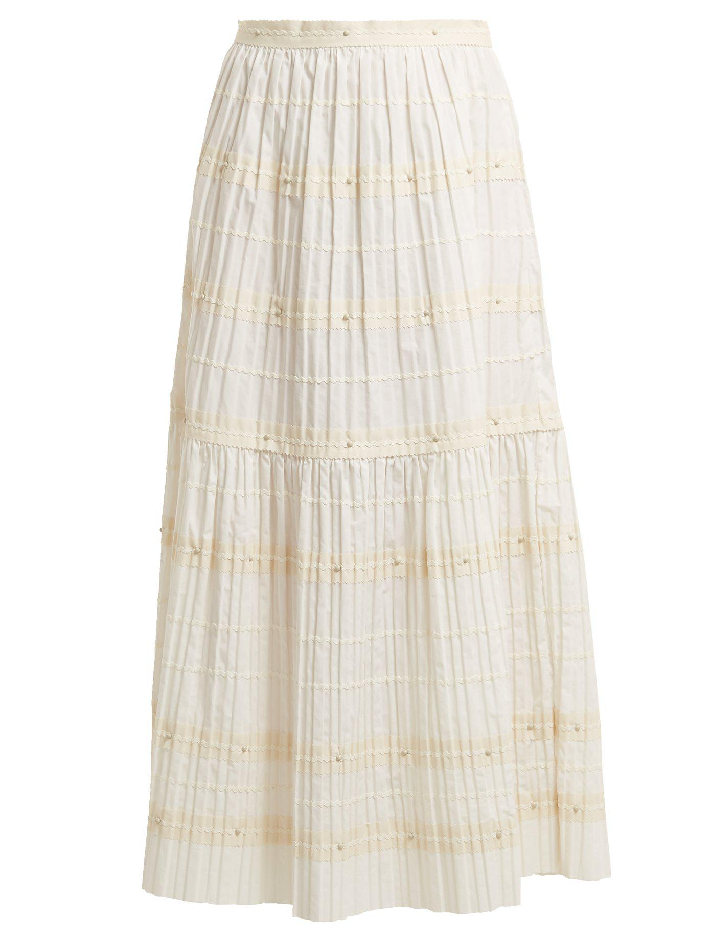 RED Valentino. Women's White Ric-rac Trimmed Pleated Cotton Skirt