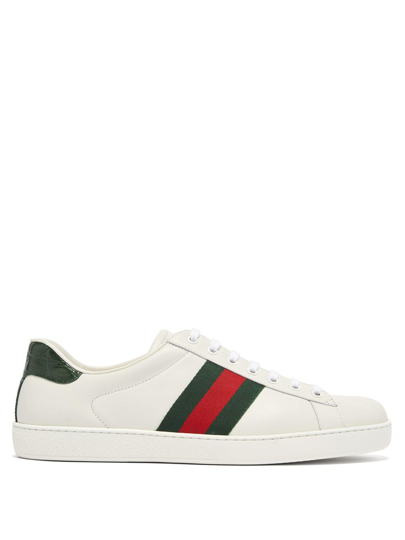 f67db863cd8 Lyst - Gucci Ace Low Top Leather Trainers in White for Men