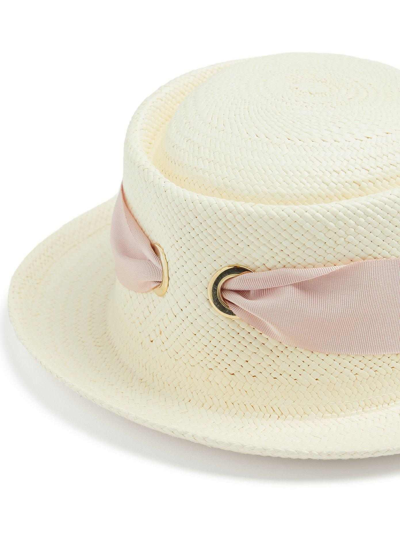 Faille-ribbon bow-tie straw hat Federica Moretti Outlet 2018 Newest Cheap Sale Genuine Buy Cheap Good Selling 72LkuEh