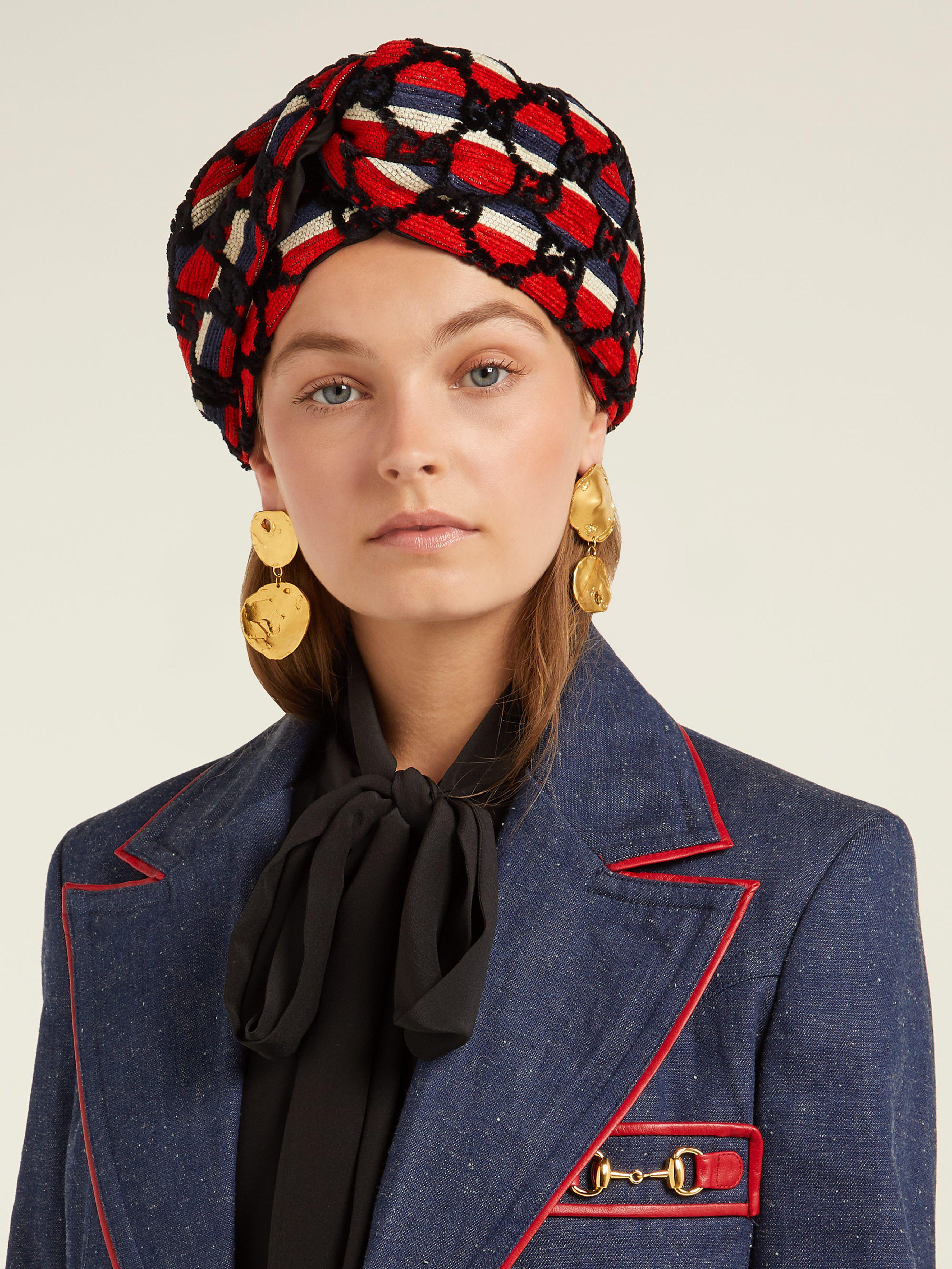 a9df051f8c Gucci Gg Print Velvet Headband in Blue - Lyst