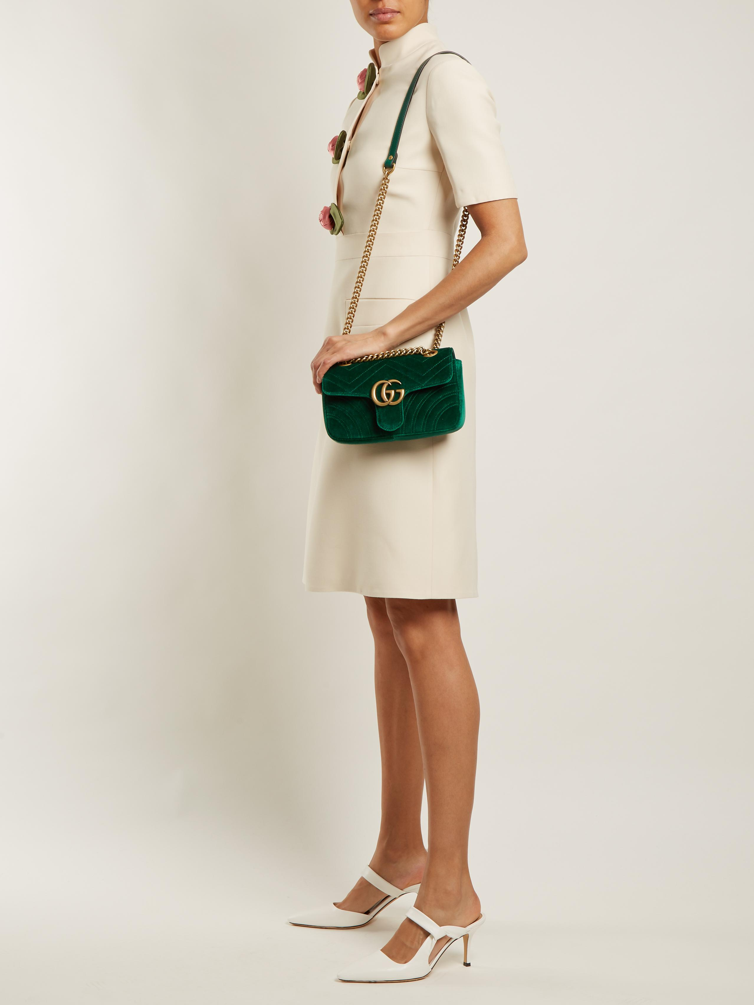d385d1435 Gucci Gg Marmont Mini Quilted-velvet Cross-body Bag in Green - Lyst