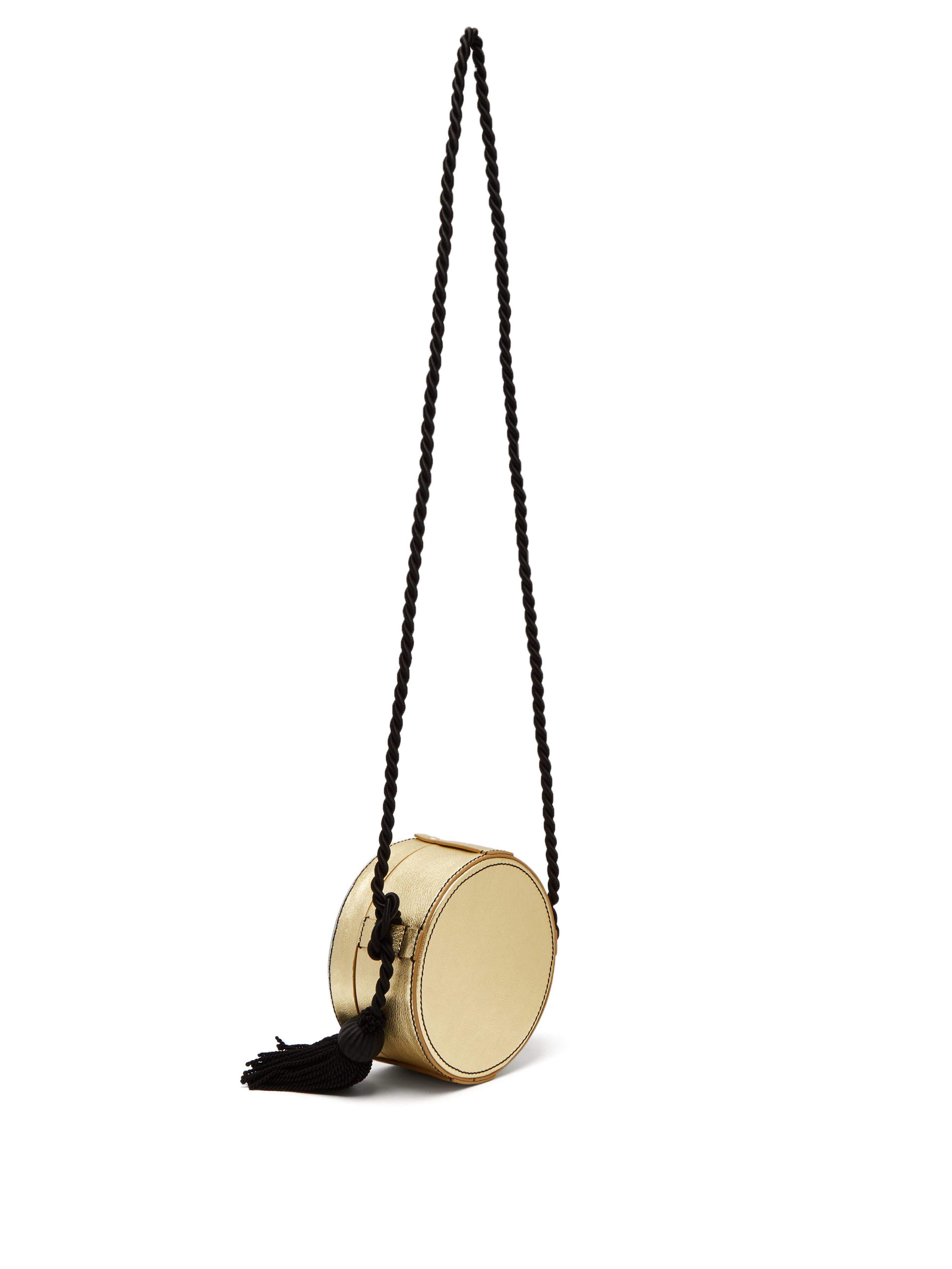 Hillier Bartley Leather Chevron Collar Box Cross Body Bag in Black Gold (Black)