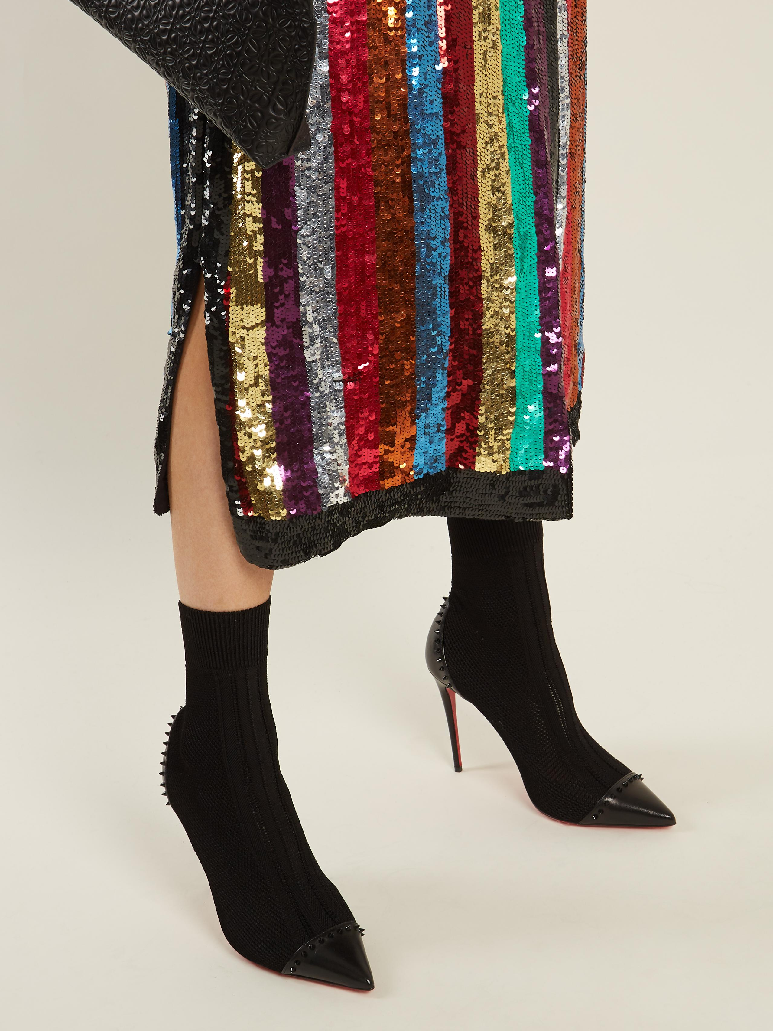 8dfaca5e700 Lyst - Christian Louboutin Dovi Dova Stud-embellished Sock Boots in ...
