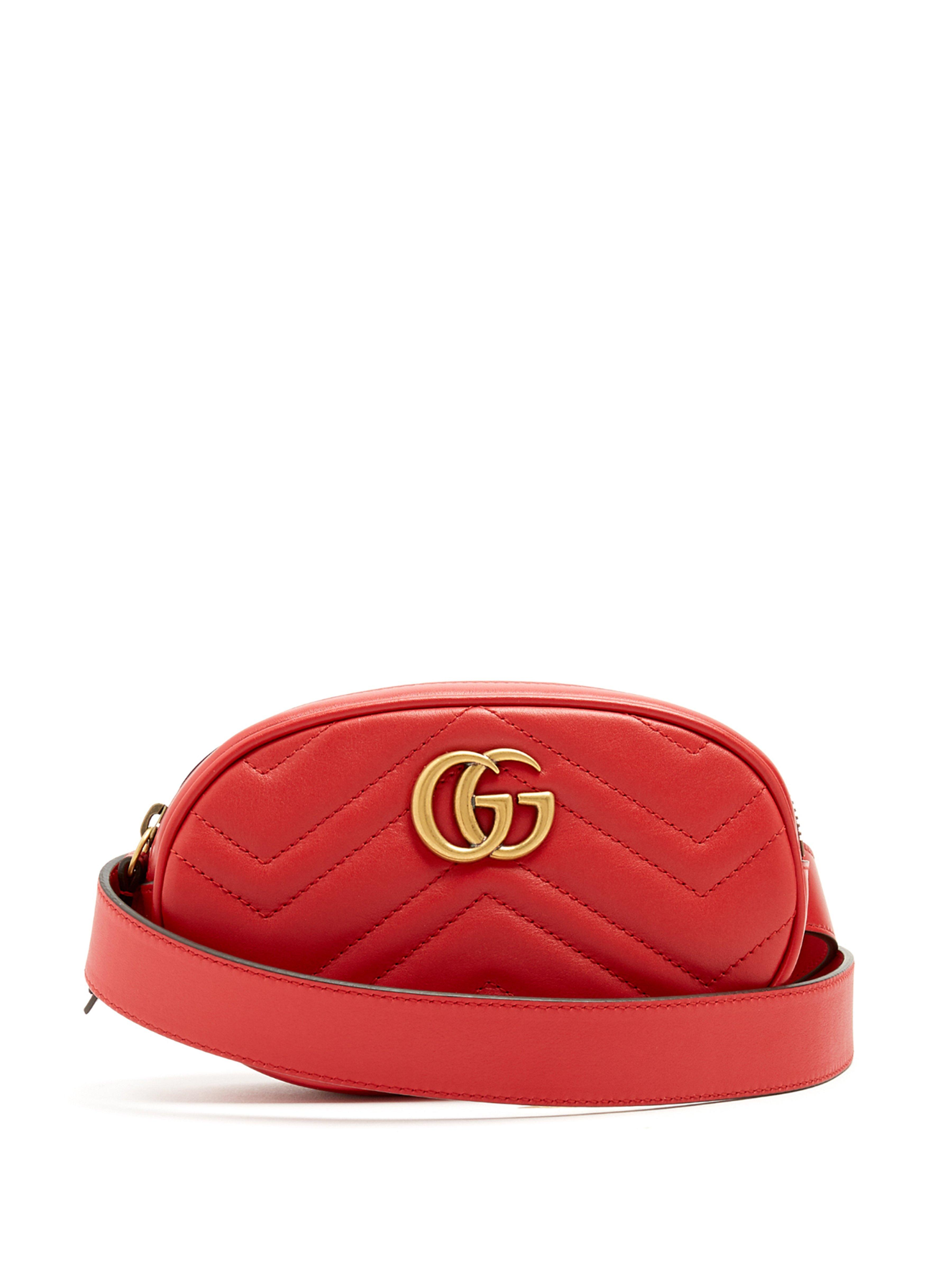d177a5bd028c Gucci Gg Marmont Quilted Leather Belt Bag in Red - Lyst