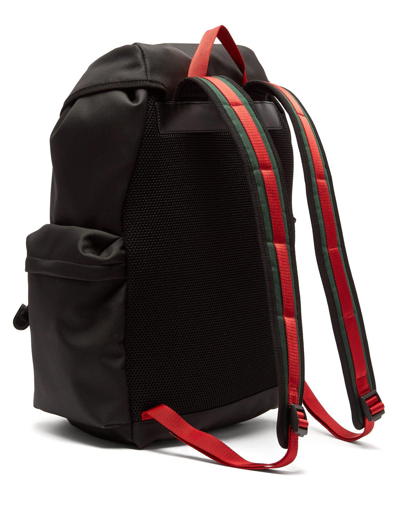 a4ac8d0d178 Lyst - Gucci Techno Web Stripe Canvas Backpack in Black for Men