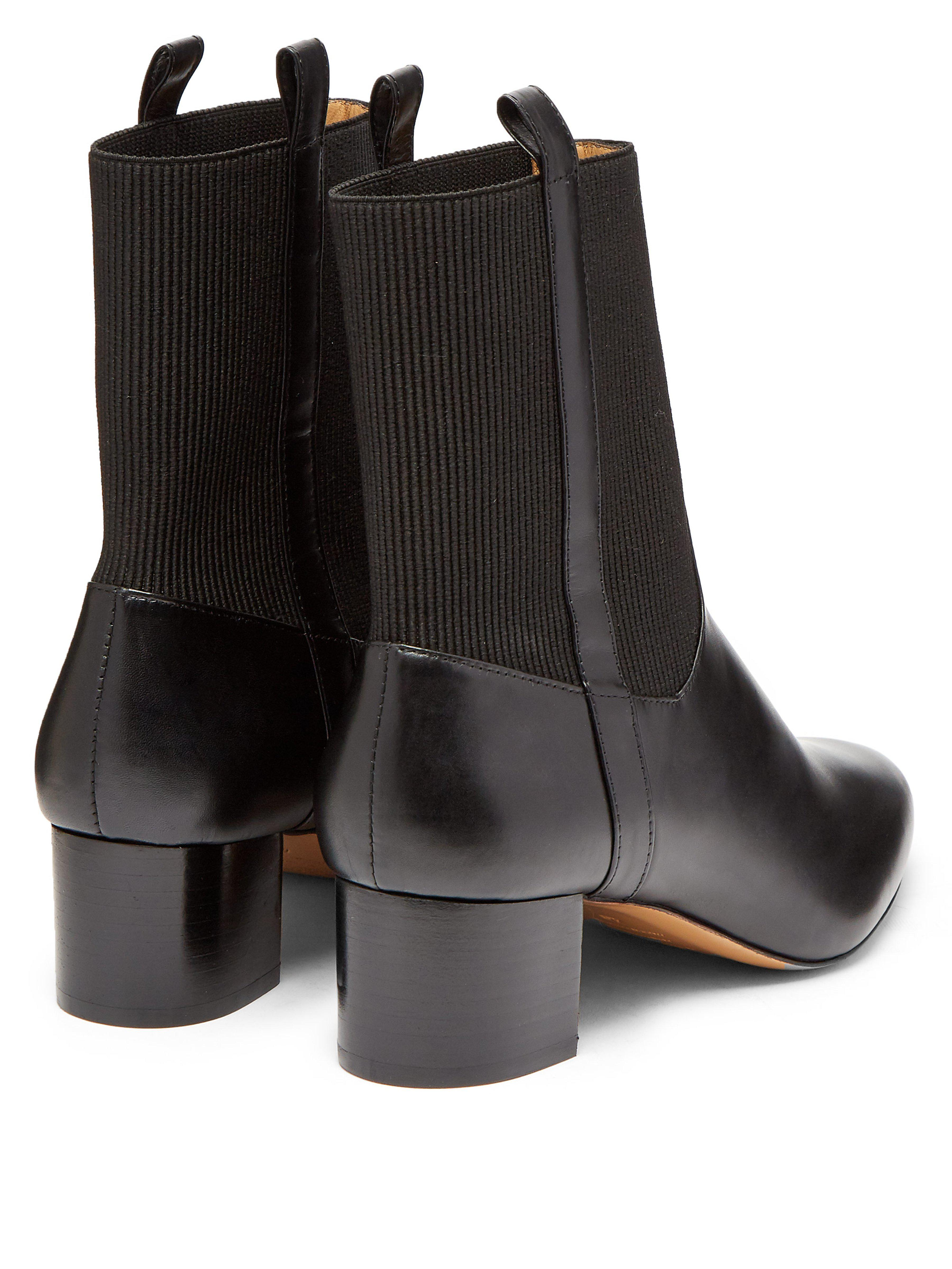 A.P.C. Chantal Leather Ankle Boots in Black