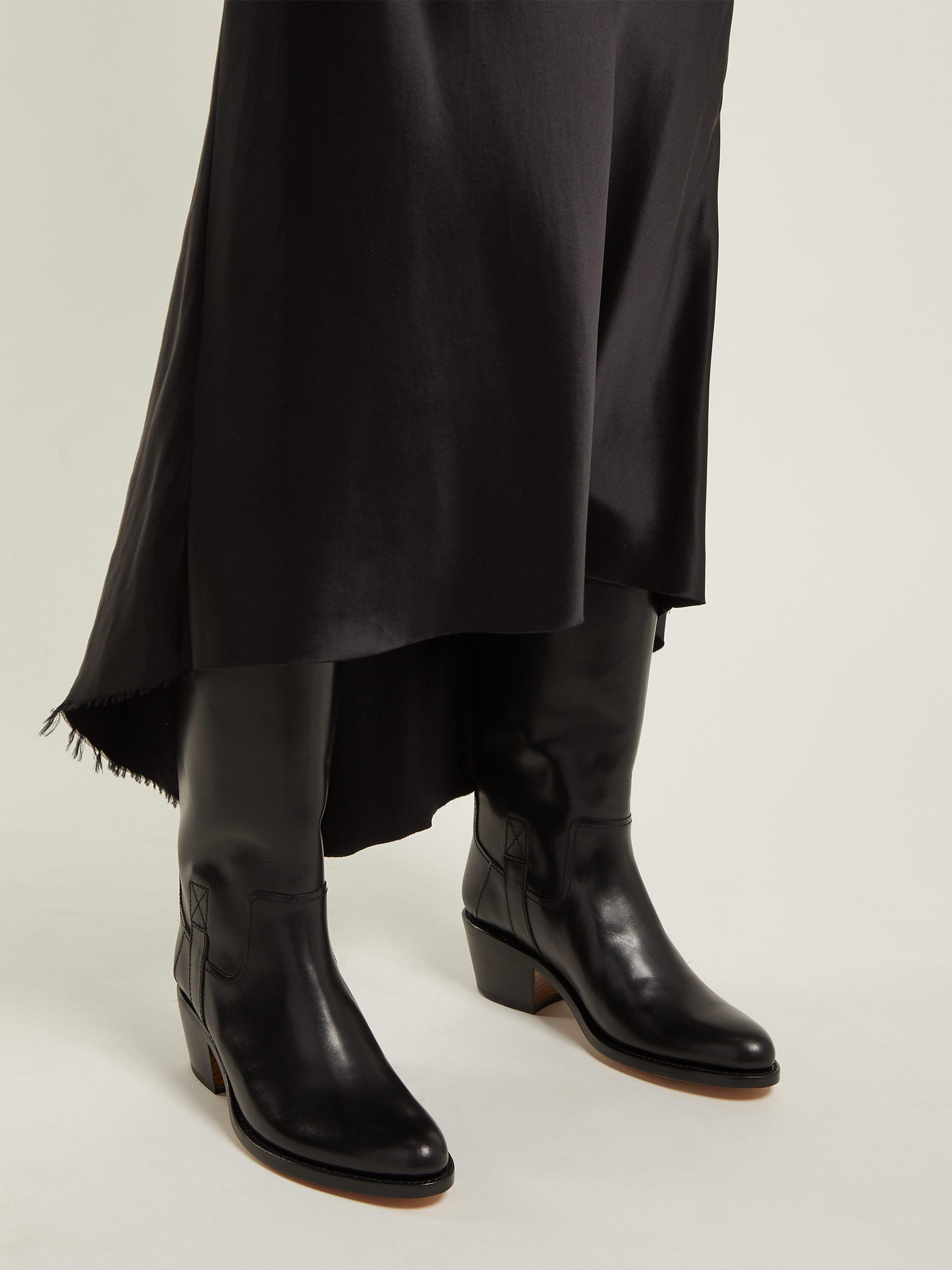A.P.C. Nina Western Leather Boots in Black - Lyst 1b7f821dfef9