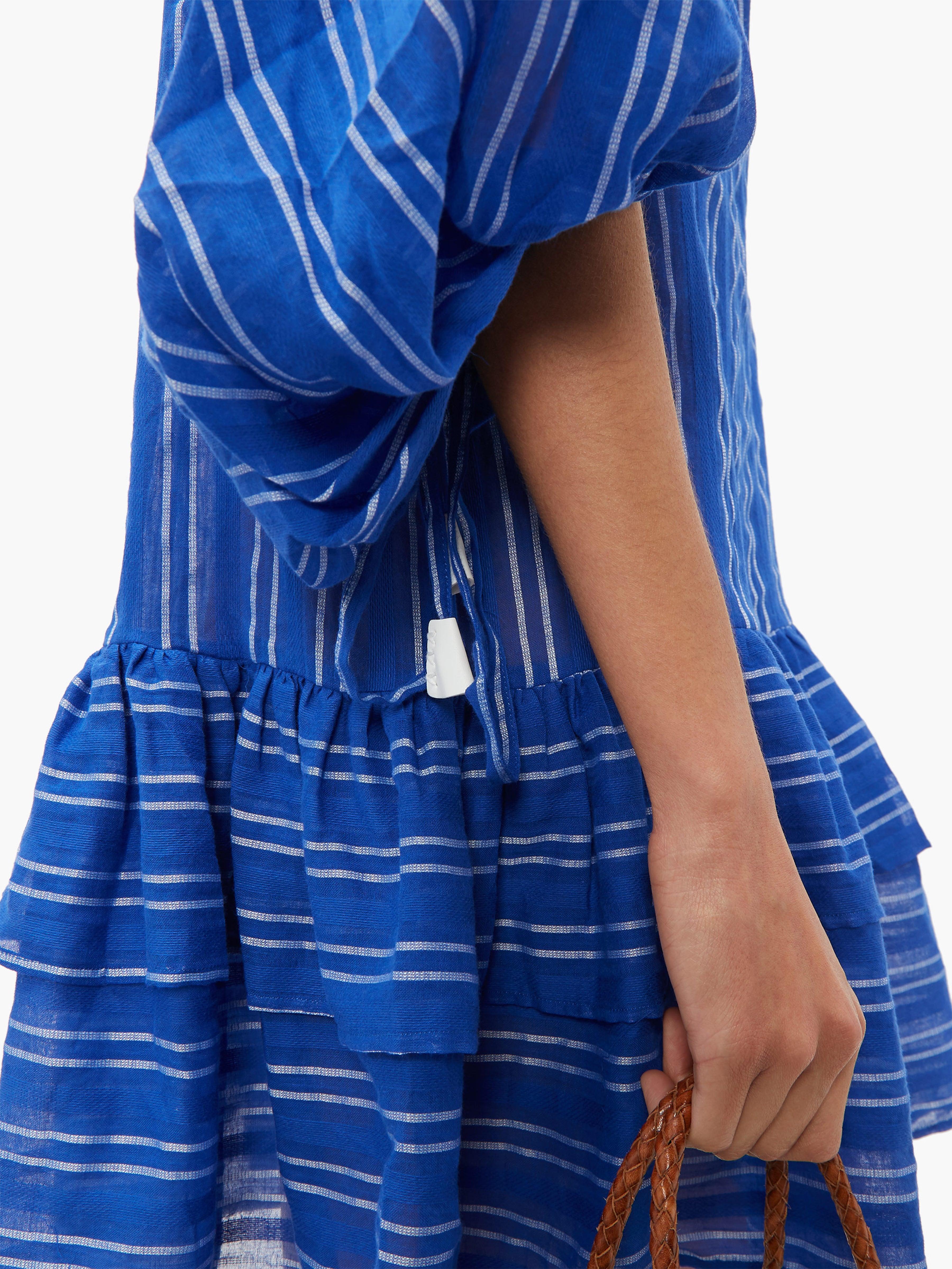 Robe courte en coton rayée Stir It Up Coton LOVE Binetti en coloris Bleu