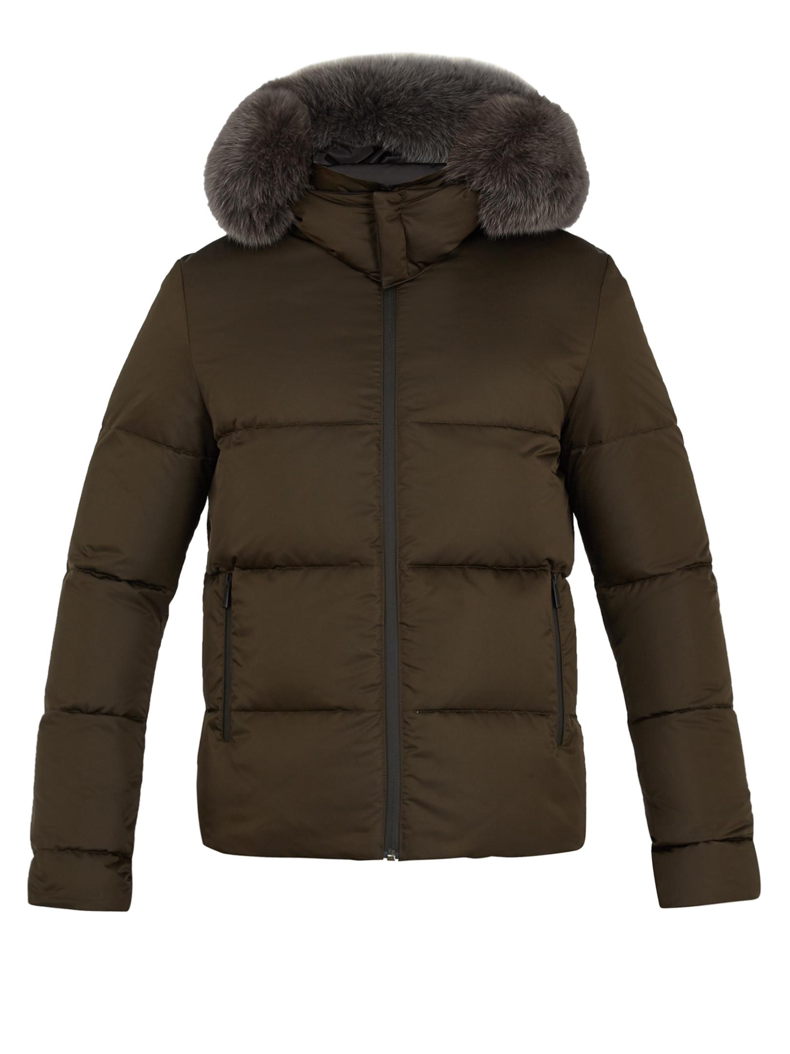 Lyst Fendi Reversible Fur Trimmed Quilted Down Coat For Men