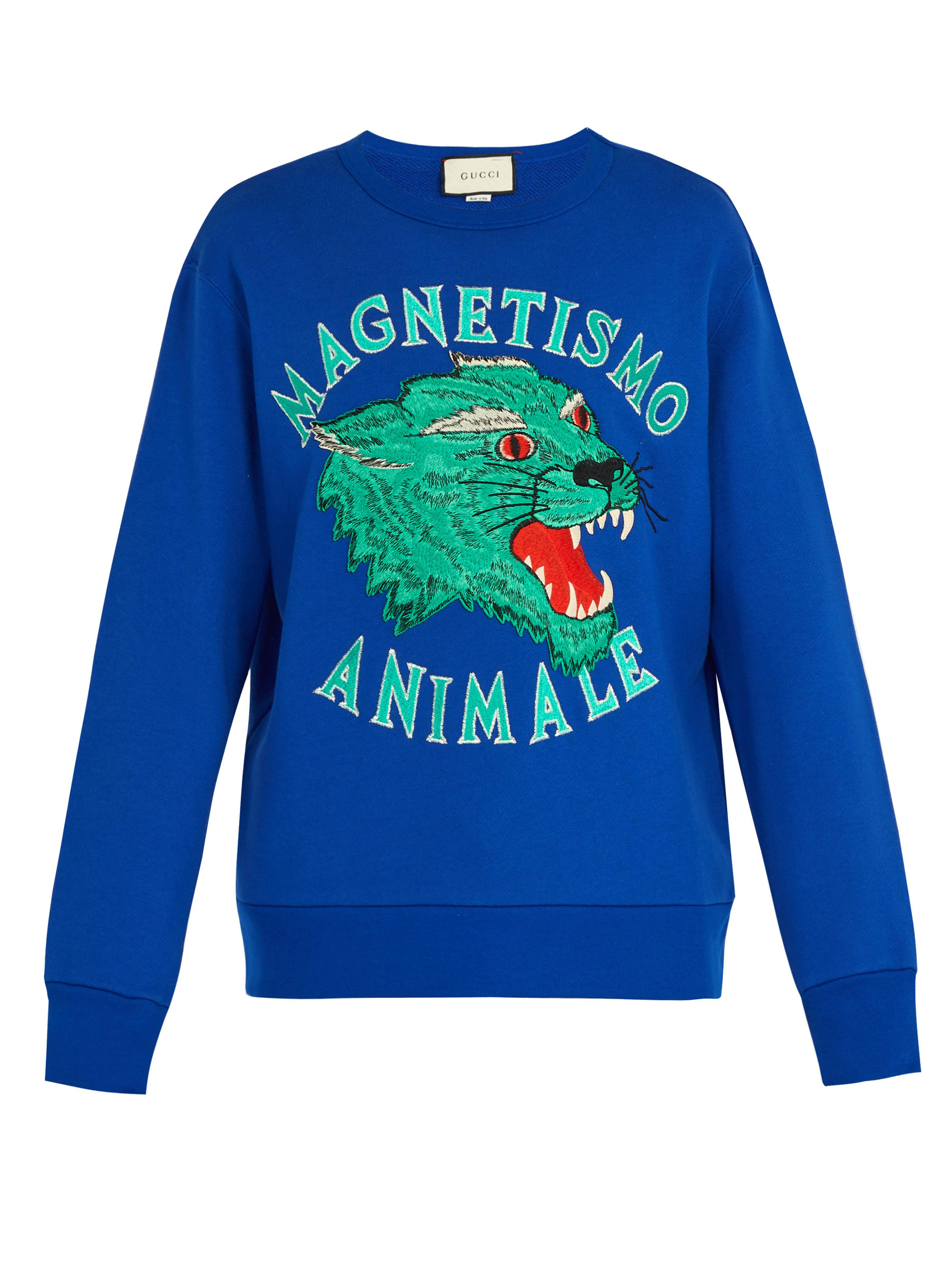8c677cbc03b Gucci - Blue Panther Embroidered Cotton Sweatshirt for Men - Lyst. View  fullscreen