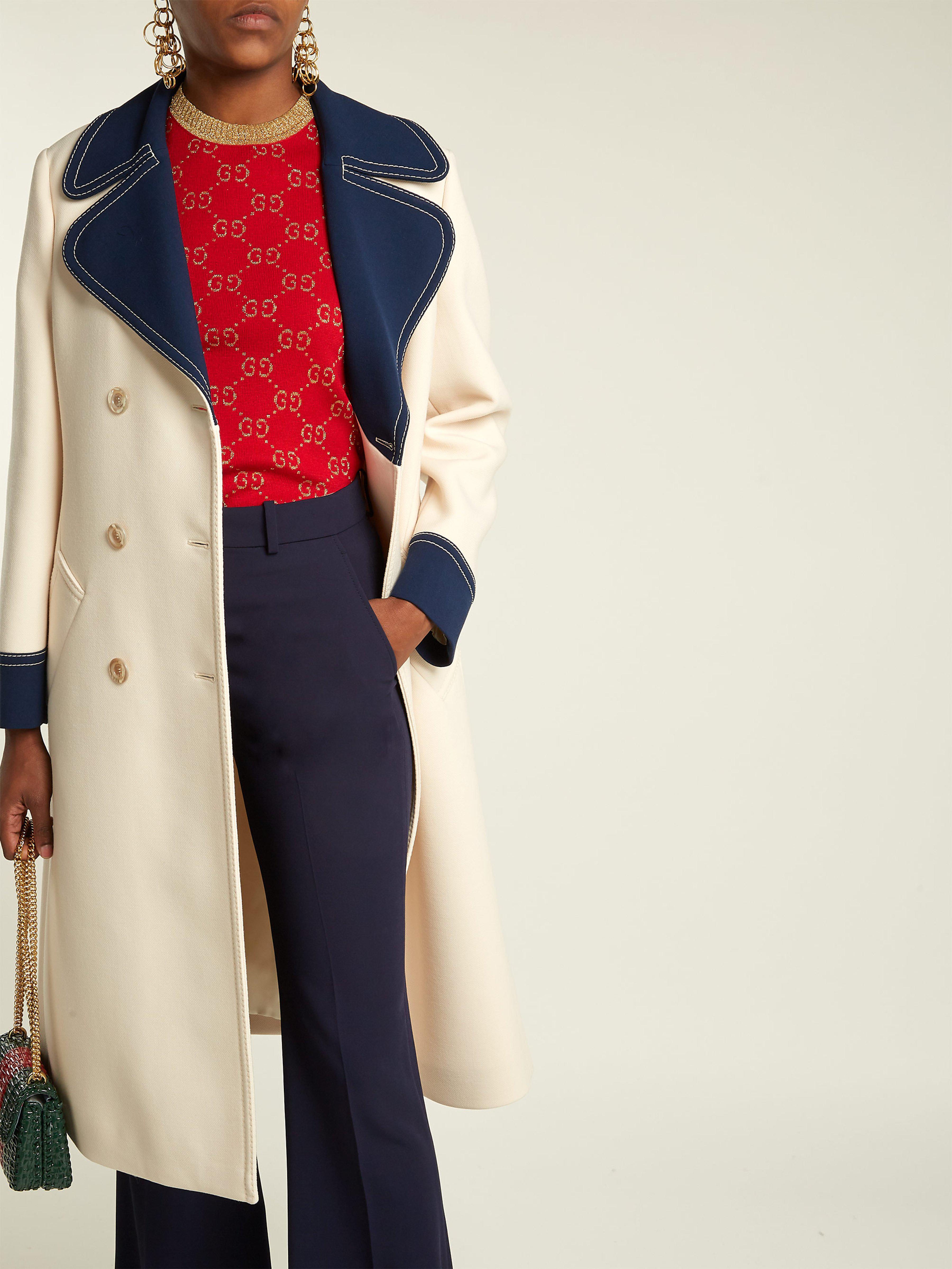 3e3bc3f01ea73 Gucci Gardenia Wool Coat in White - Lyst