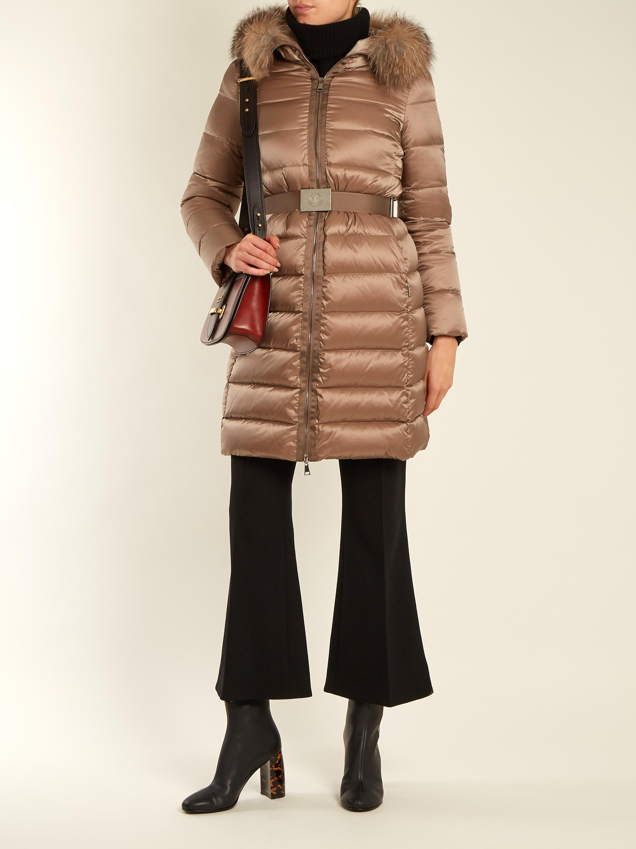 48976f242 Moncler Brown Tinuviel Hooded Fur-trimmed Quilted Down Coat
