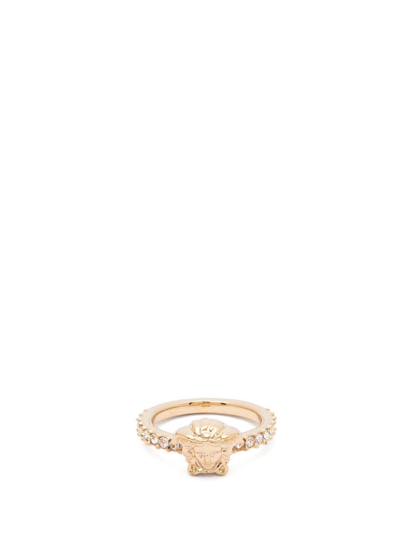 9076ed9ca3b Versace - Metallic Medusa Pavé Crystal Ring - Lyst. View fullscreen