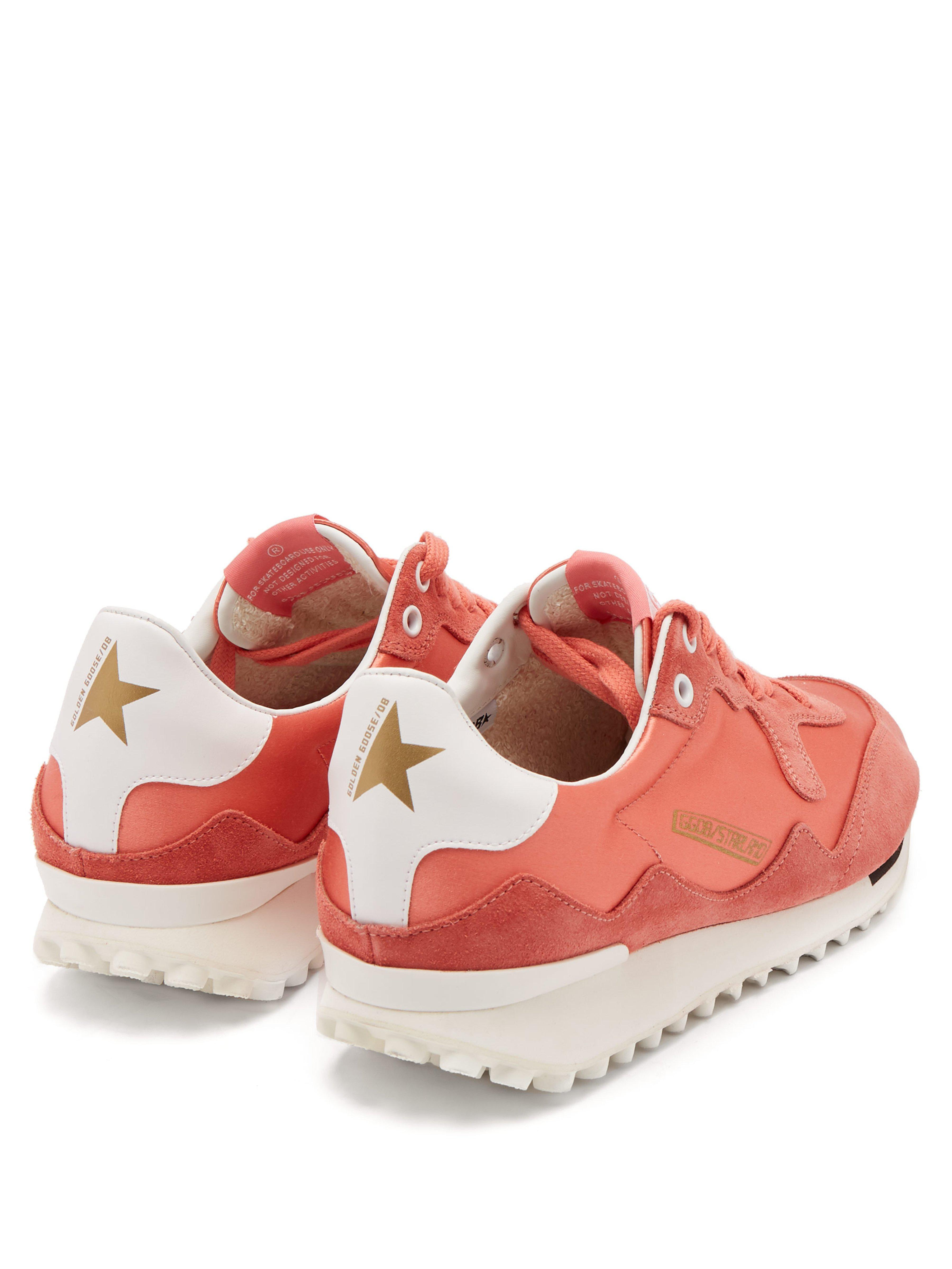 Golden Goose Deluxe Brand Paneled Satin And Suede Sneakers Coral in Pink