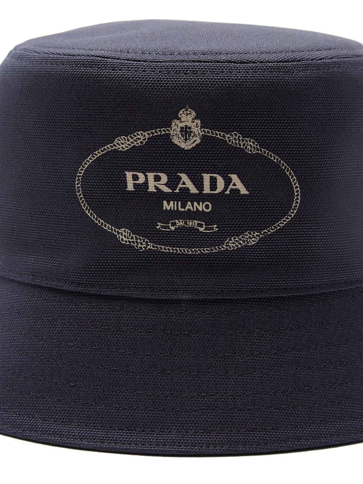 9982747c068 Lyst - Prada Logo Print Cotton Canvas Bucket Hat in Blue for Men - Save 6%
