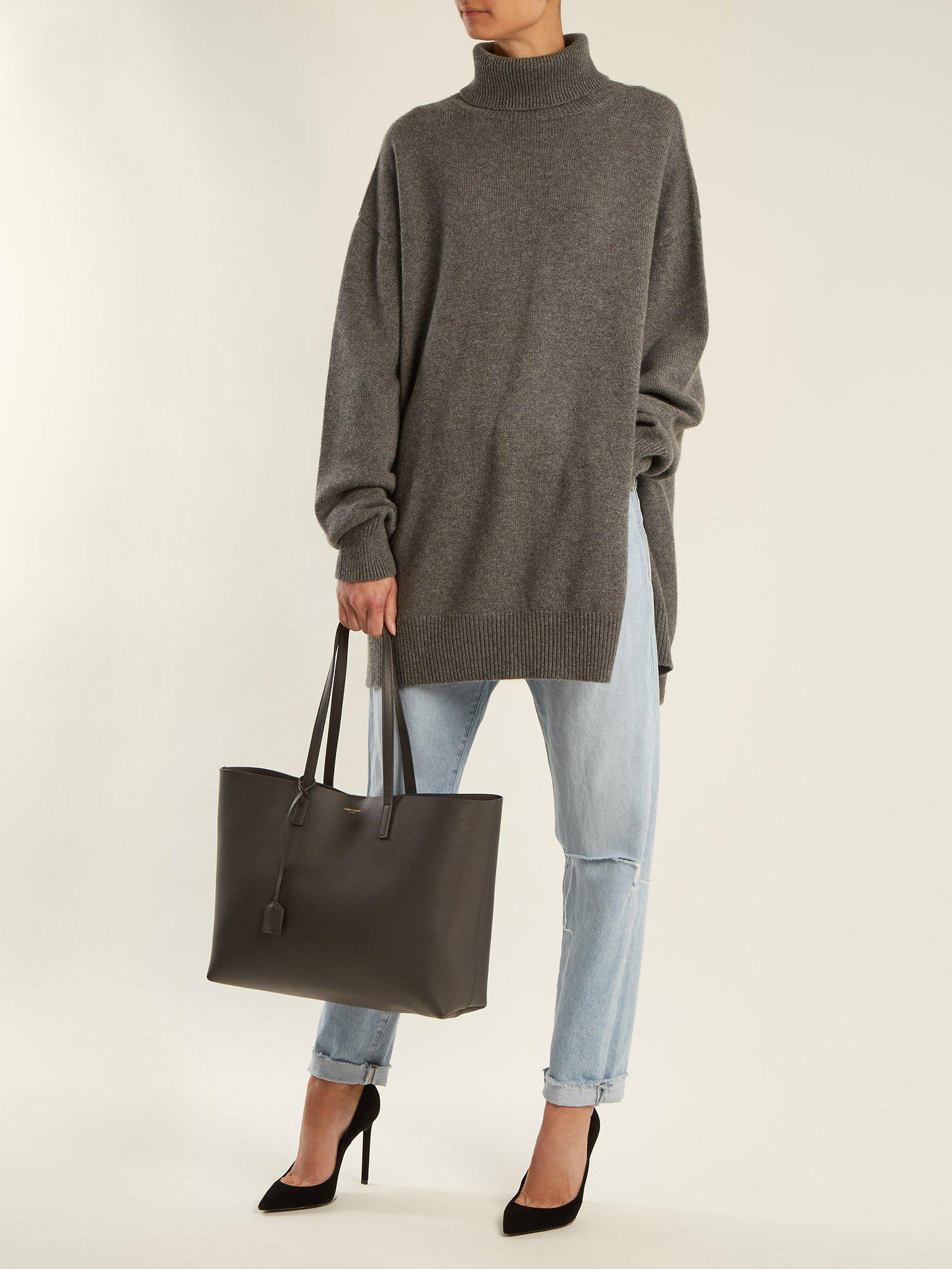 59eb5d03ae14 Lyst - Saint Laurent East West Medium Leather Tote in Gray