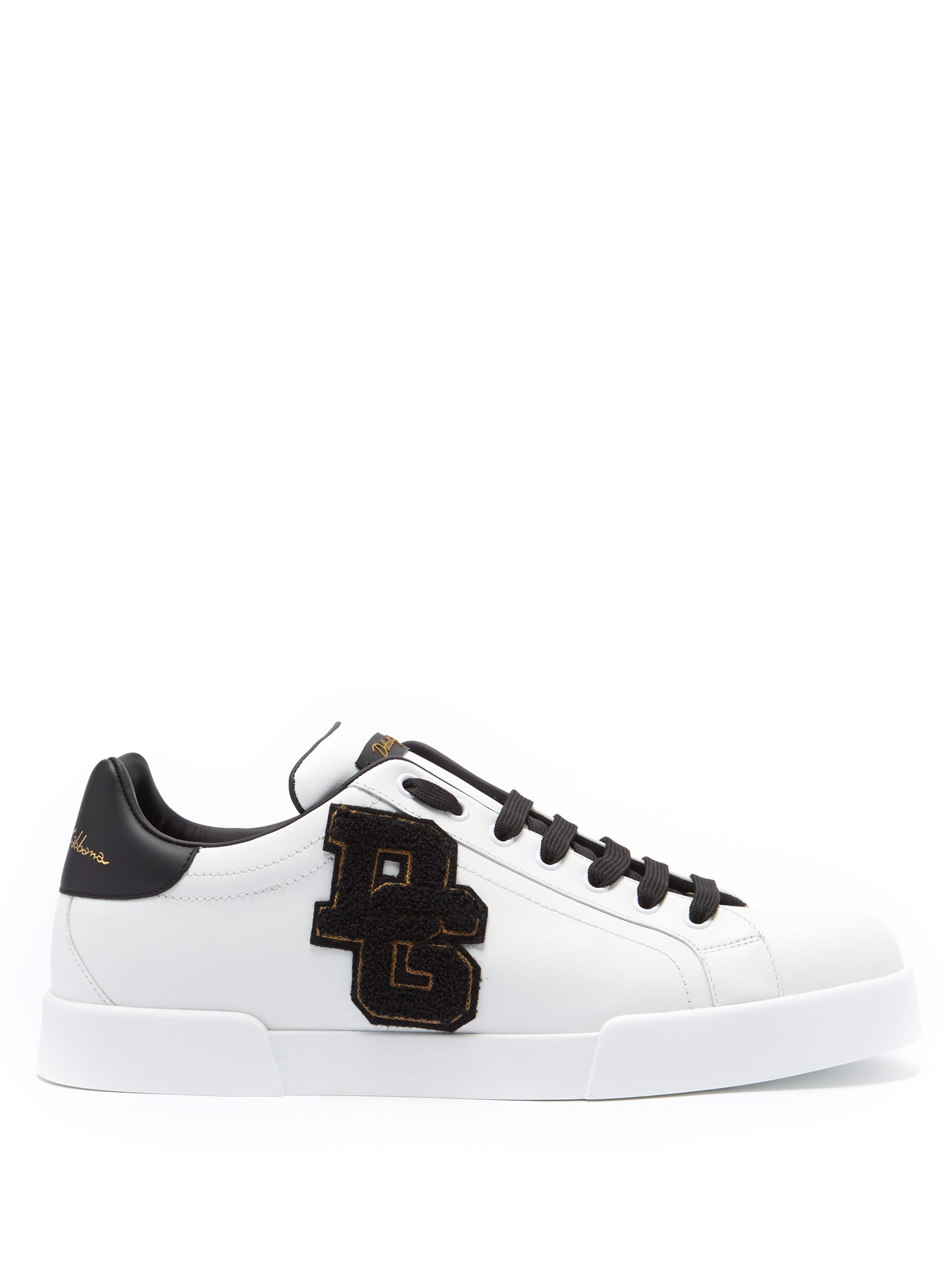 0b7373c99 Dolce & Gabbana Logo Appliqué Low Top Leather Trainers in Black for ...