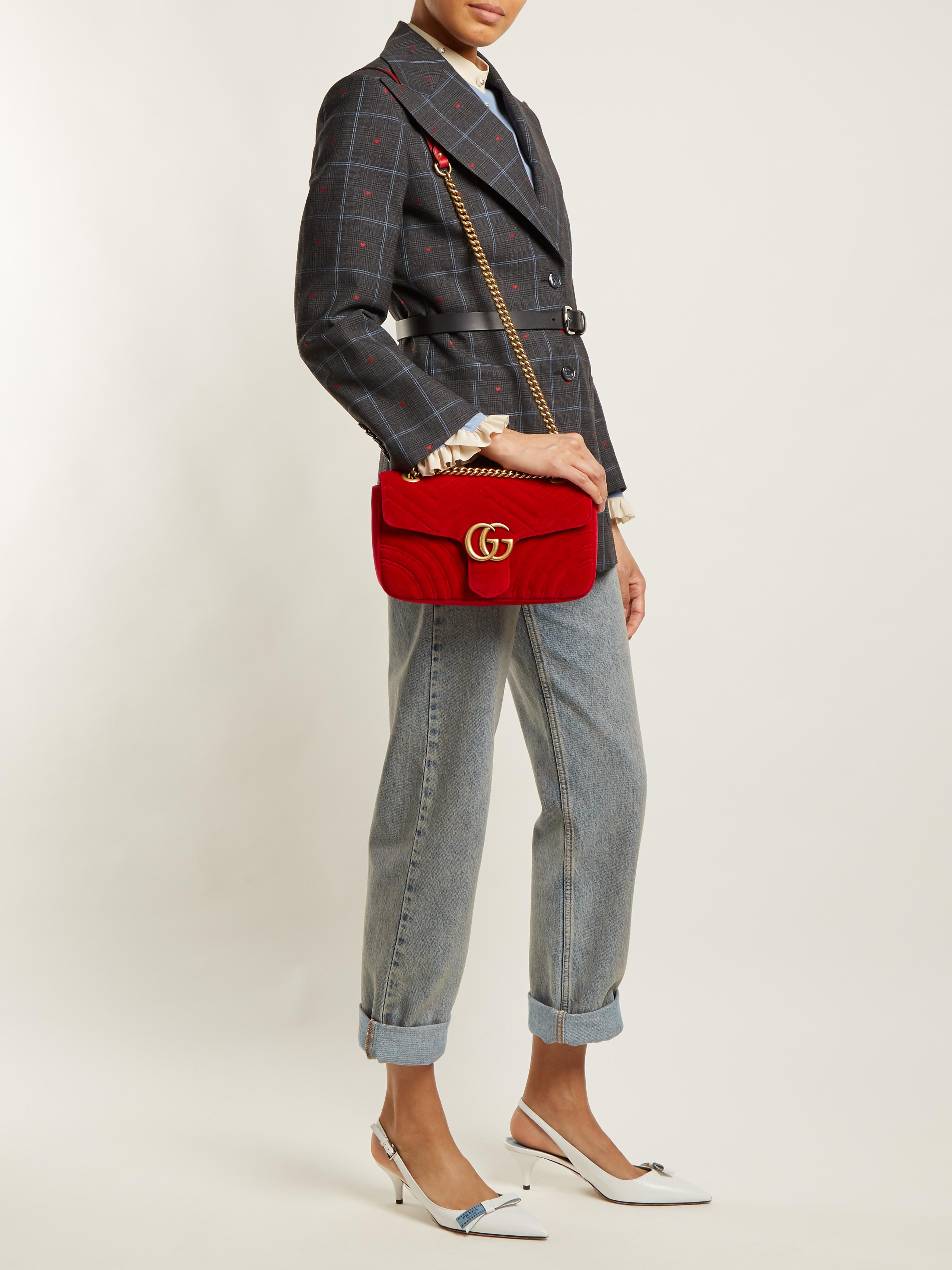 1773db7f Gucci Red Gg Marmont Small Quilted-velvet Cross-body Bag