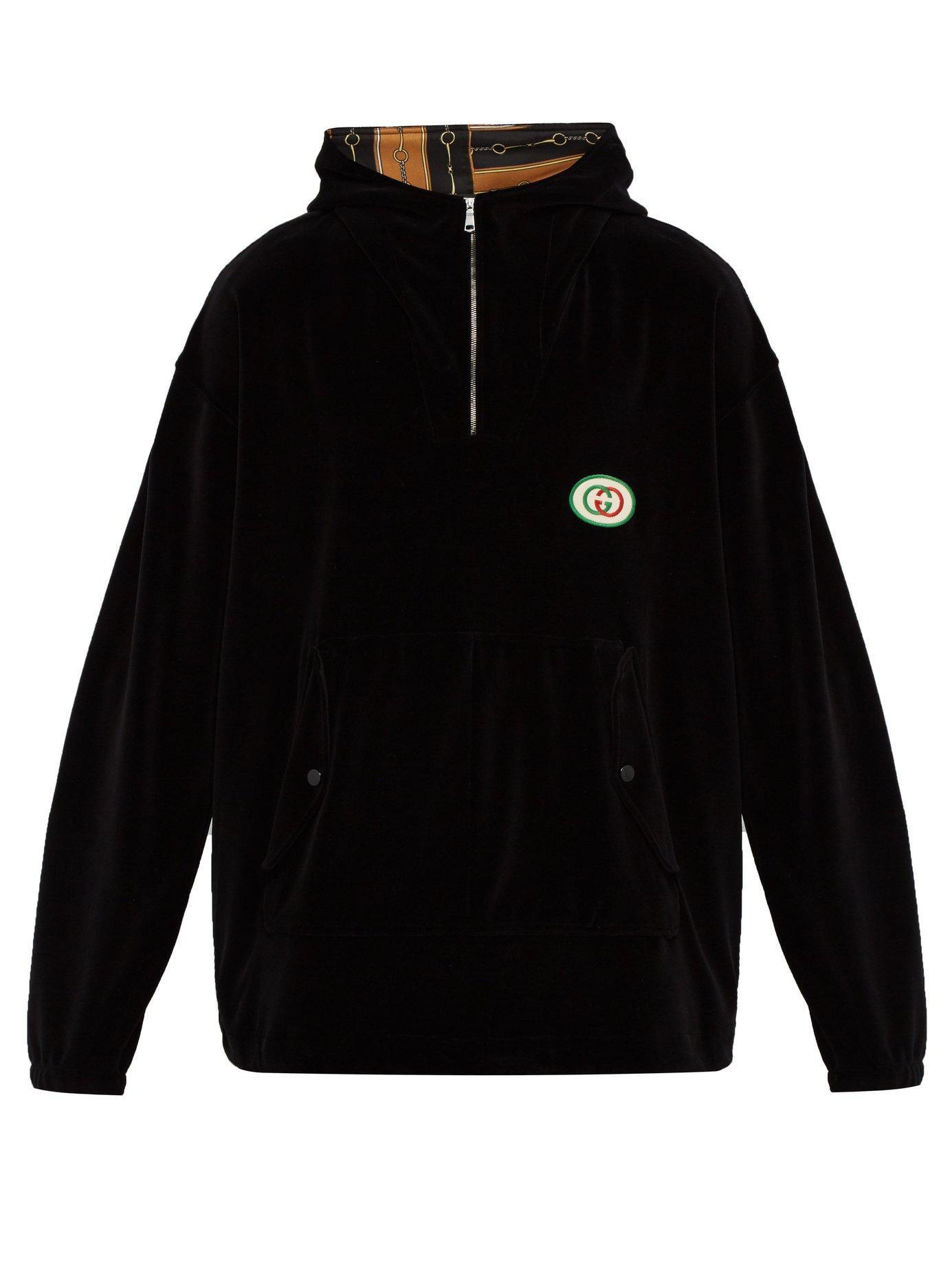 86d77b165ff Lyst - Gucci Logo Embroidered Velvet Hooded Sweatshirt in Black for Men