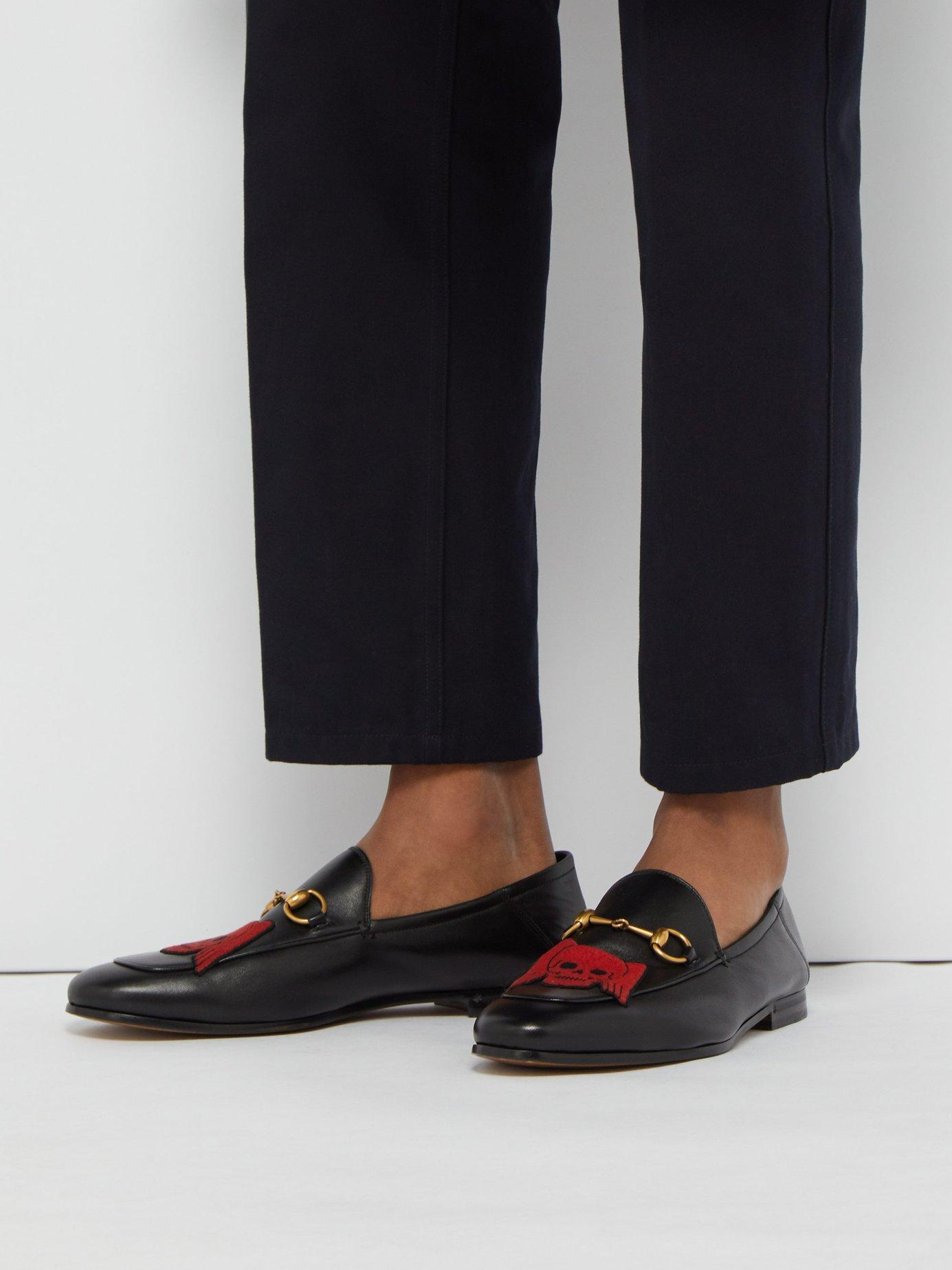 ba8ab0ce546 Gucci - Black Brixton Skull Leather Loafers for Men - Lyst. View fullscreen