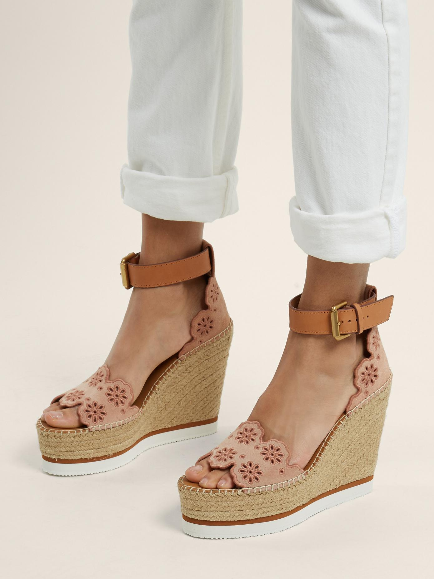f7f24e6e7d1 See By Chloé Natural Flower Laser-cut Suede Wedge Espadrilles